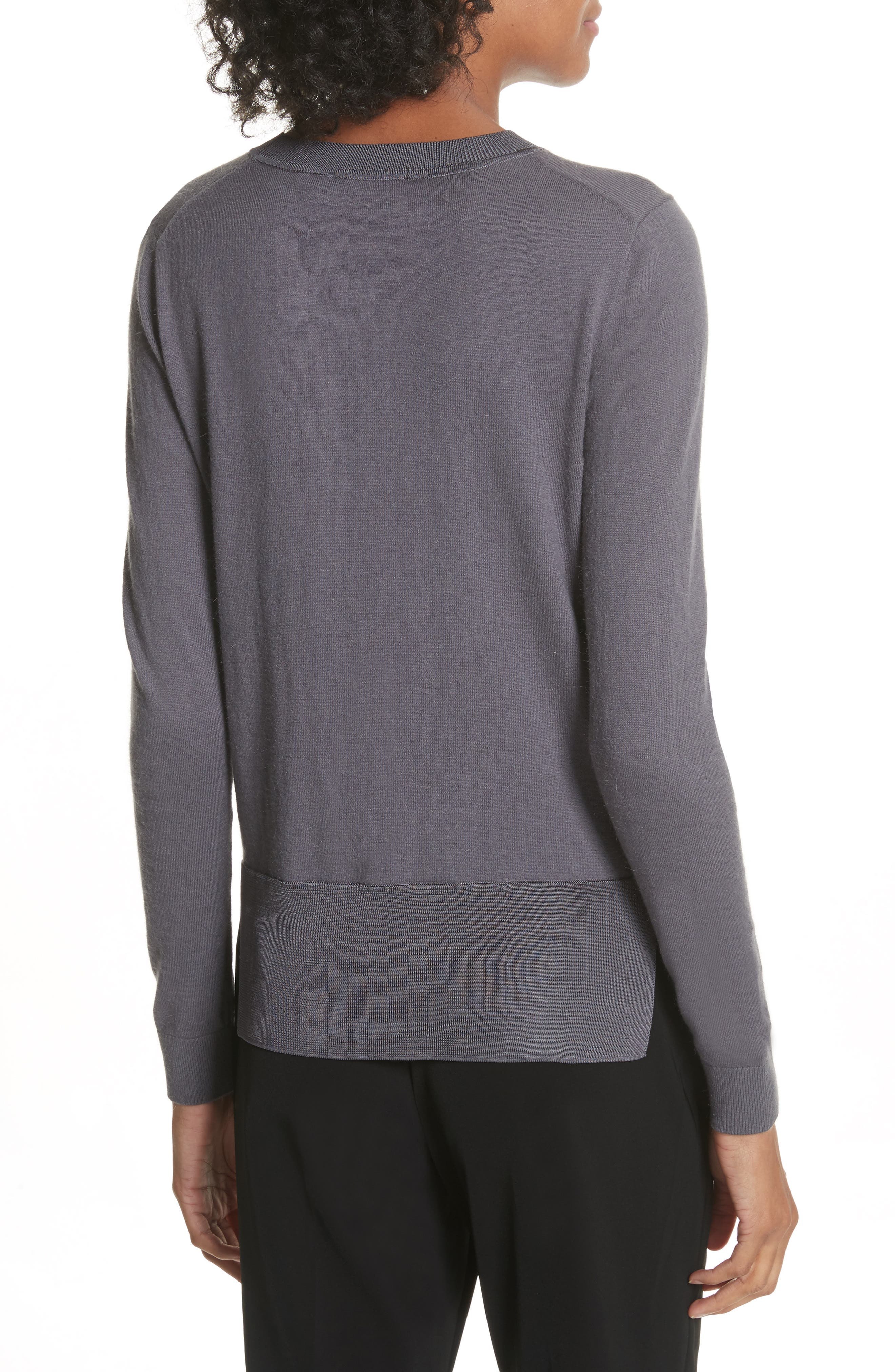 Chatswoth Woven Front Sweater,                             Alternate thumbnail 2, color,                             Grey