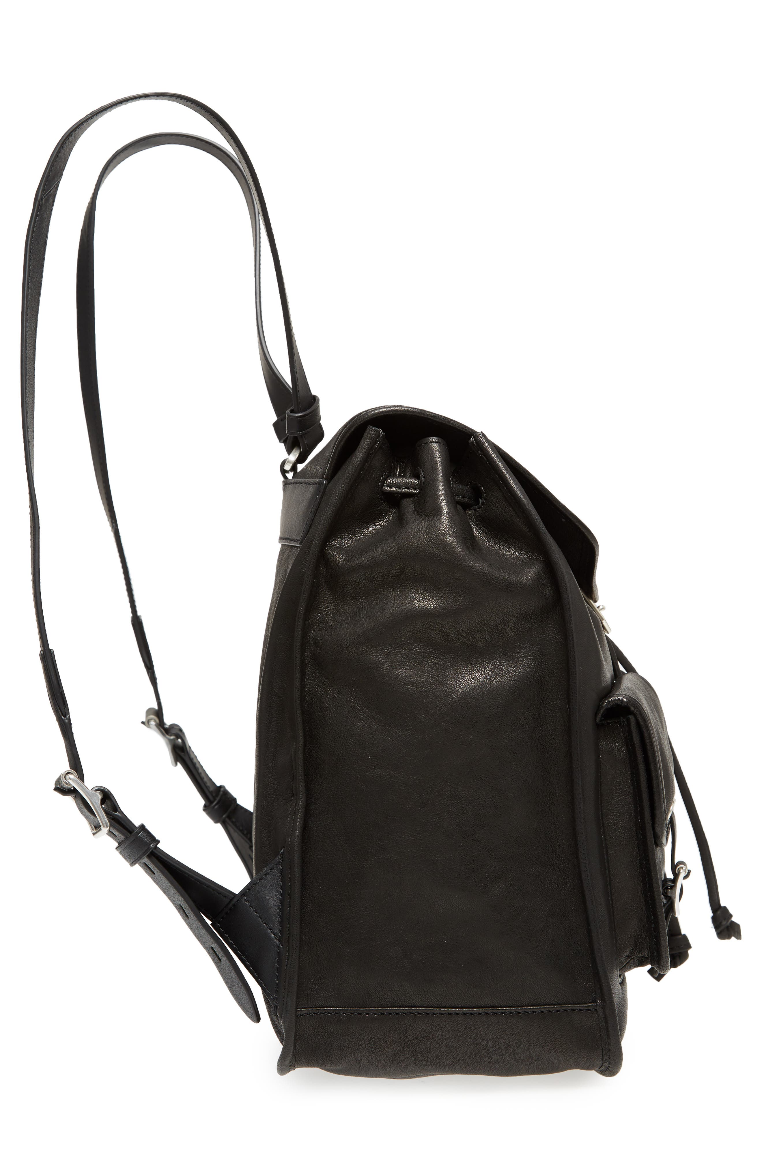 Field Lambskin Leather Backpack,                             Alternate thumbnail 5, color,                             Black