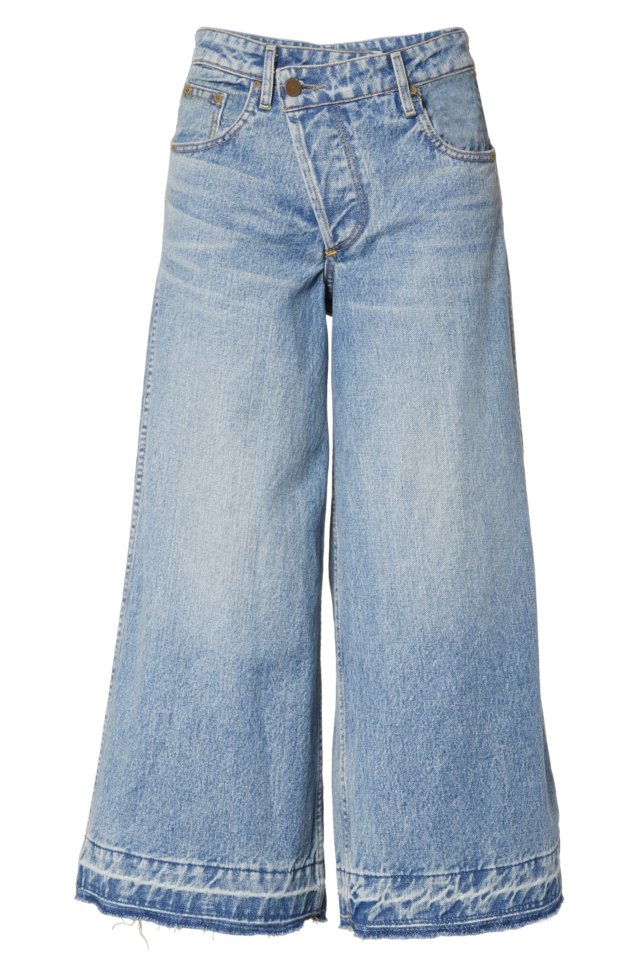 Shifted Zip Crop Wide Leg Jeans,                             Alternate thumbnail 6, color,                             Blue
