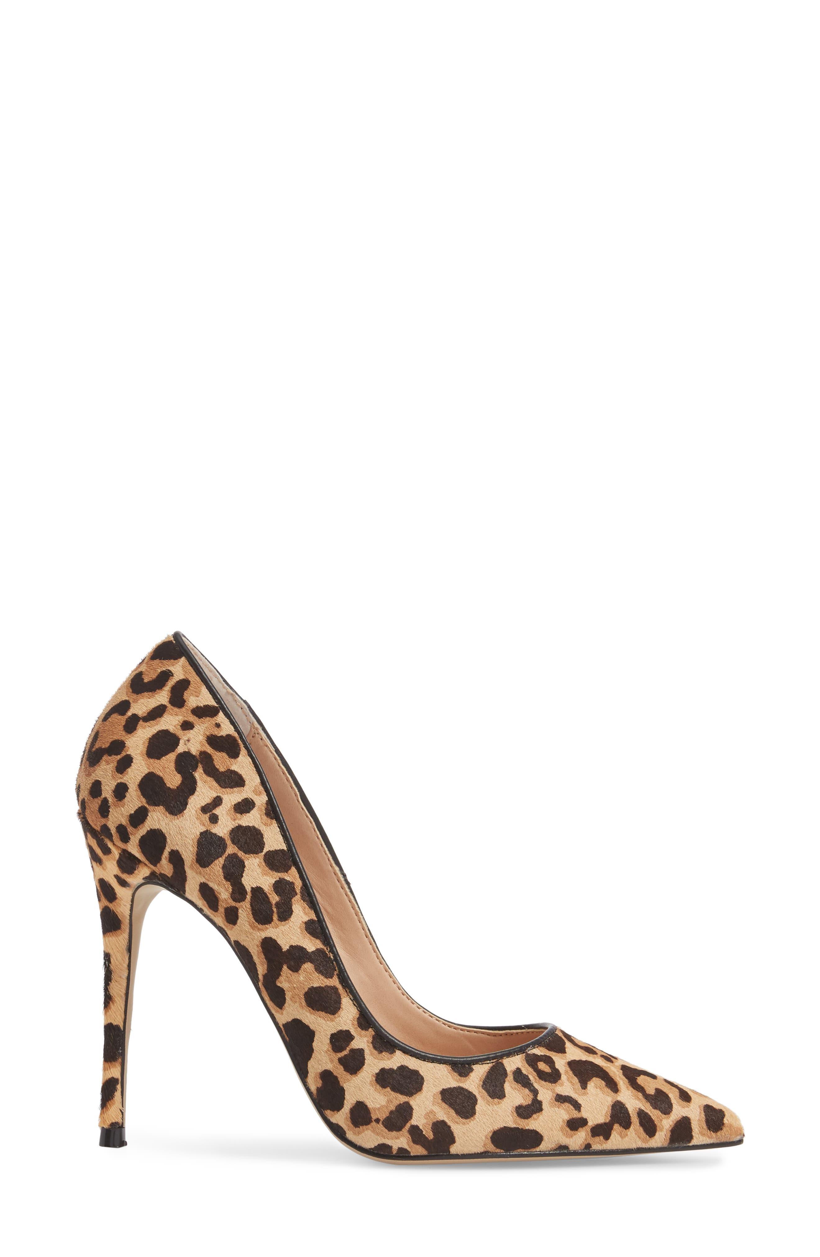 Daisie Genuine Calf Hair Pointy-Toe Pump,                             Alternate thumbnail 3, color,                             Leopard