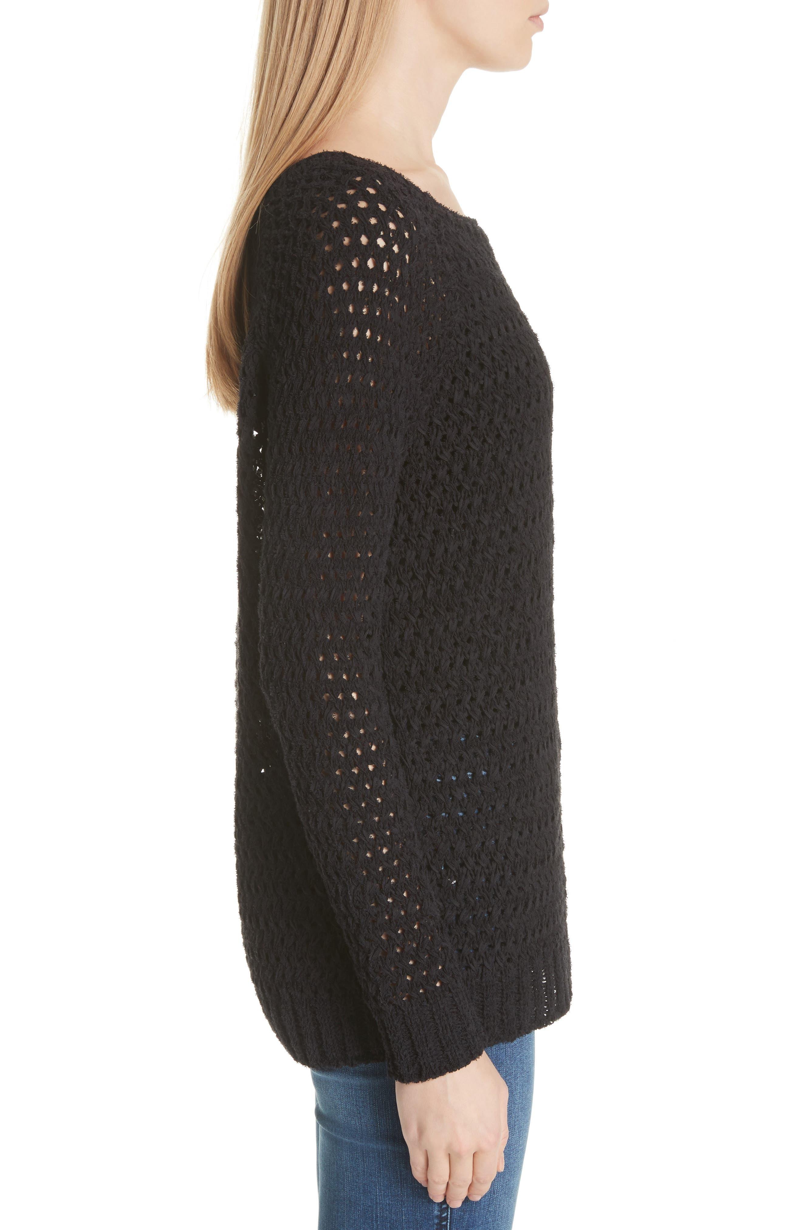 Crisscross Open Stitch Cold Shoulder Sweater,                             Alternate thumbnail 3, color,                             Caviar