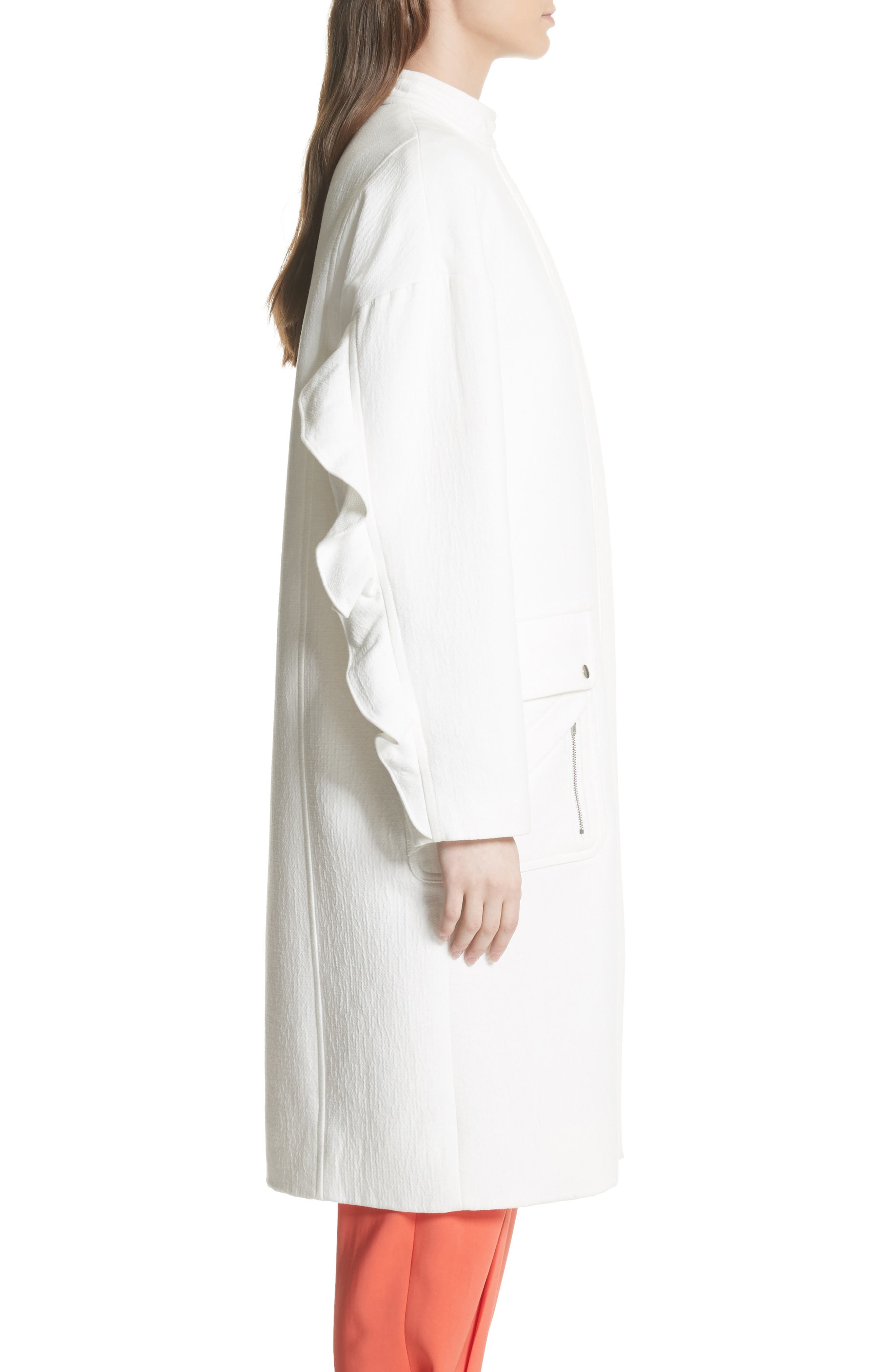 Ruffle Sleeve Cotton Coat,                             Alternate thumbnail 3, color,                             Linen