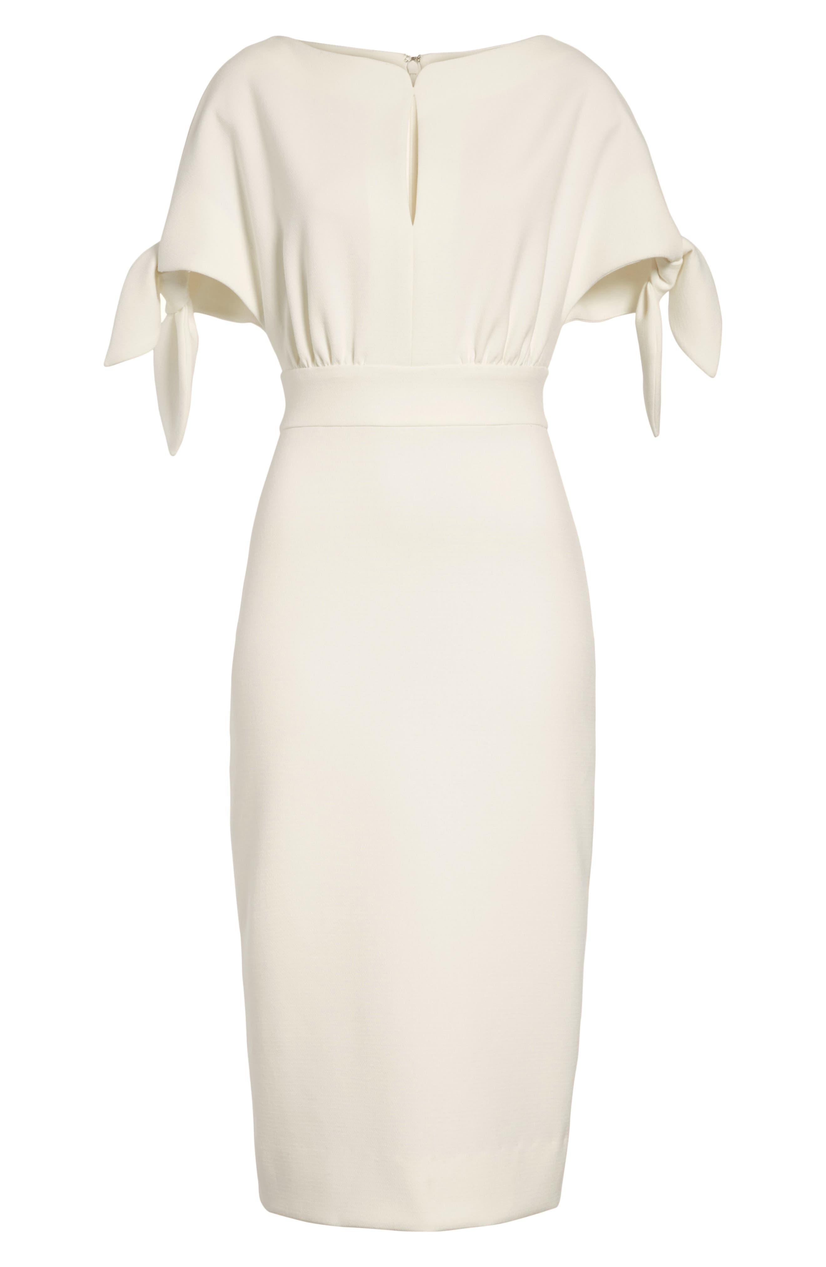 Tie Sleeve Wool Blend Sheath Dress,                             Alternate thumbnail 7, color,                             White