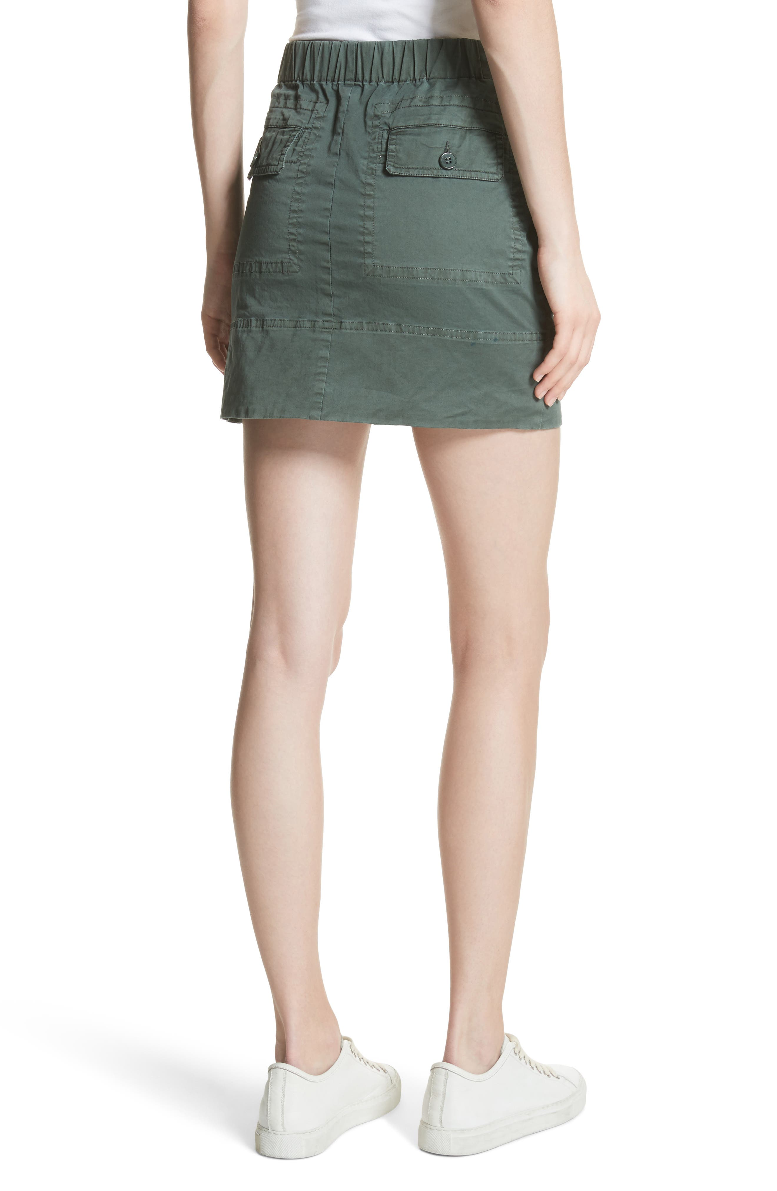 Stretch Cotton Drawstring Miniskirt,                             Alternate thumbnail 2, color,                             Spanish Green