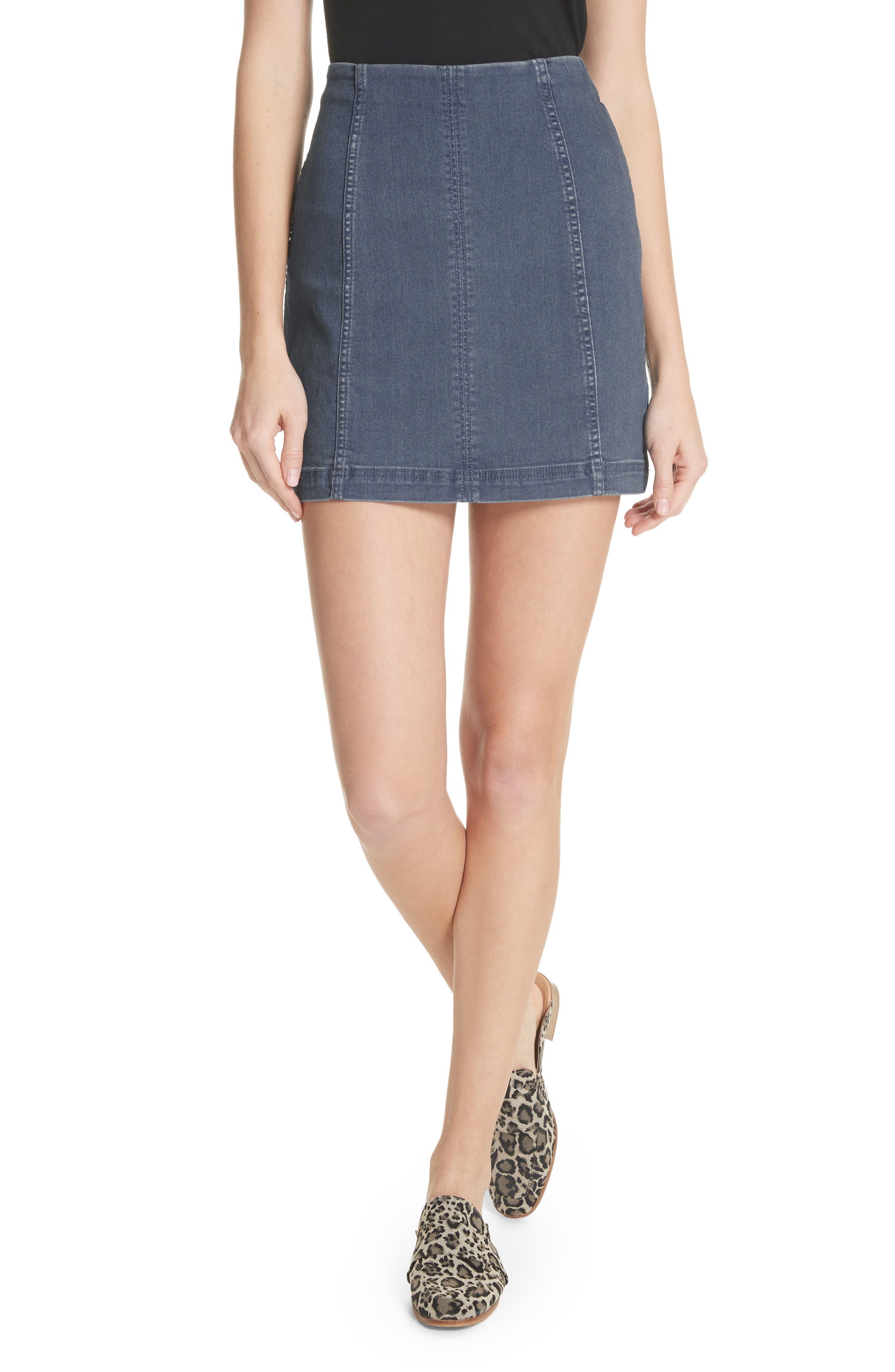 'Modern Femme' Denim Miniskirt,                             Main thumbnail 1, color,                             Blue