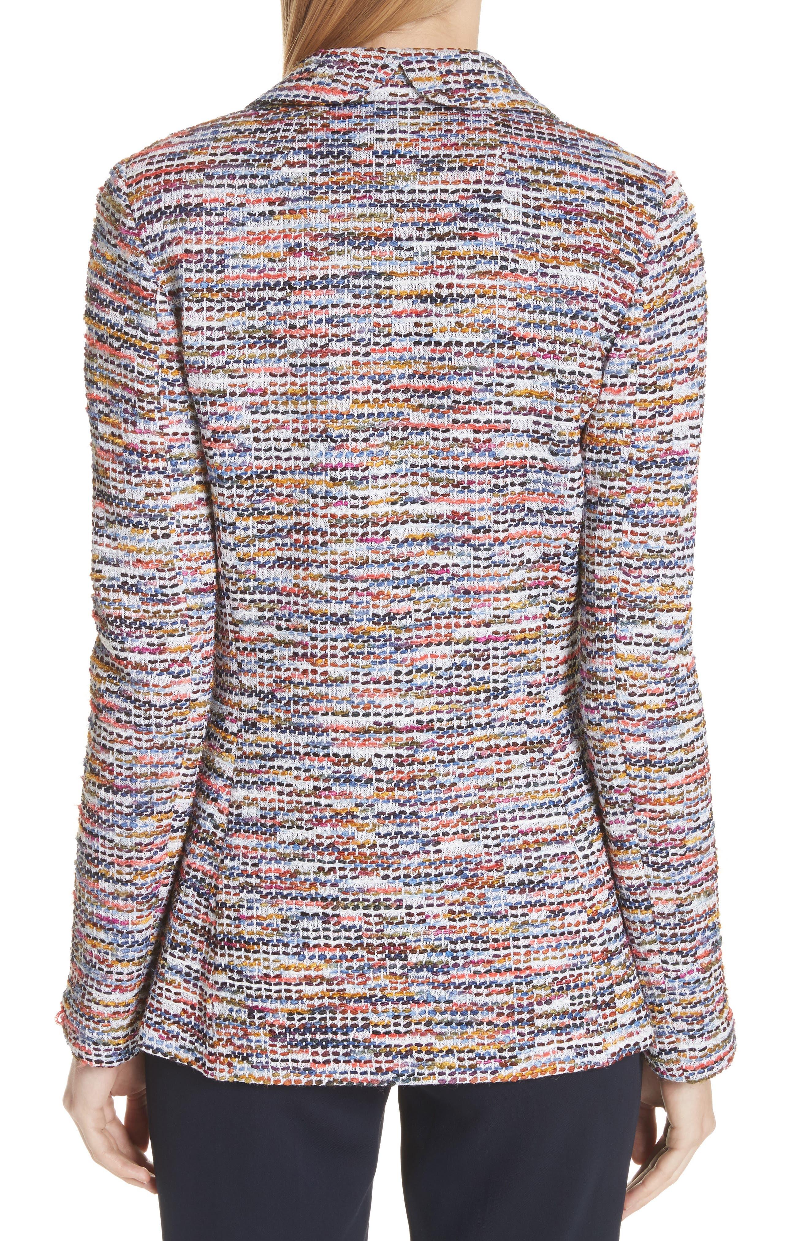 Vertical Fringe Multi Tweed Knit Jacket,                             Alternate thumbnail 2, color,                             Sienna Multi
