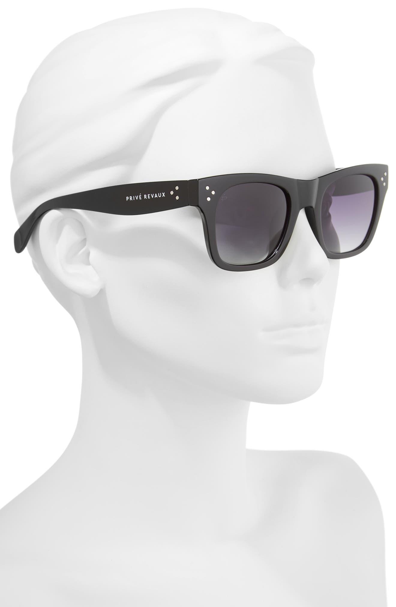 Privé Revaux The Classic 51mm Polarized Square Sunglasses,                             Alternate thumbnail 4, color,                             Black