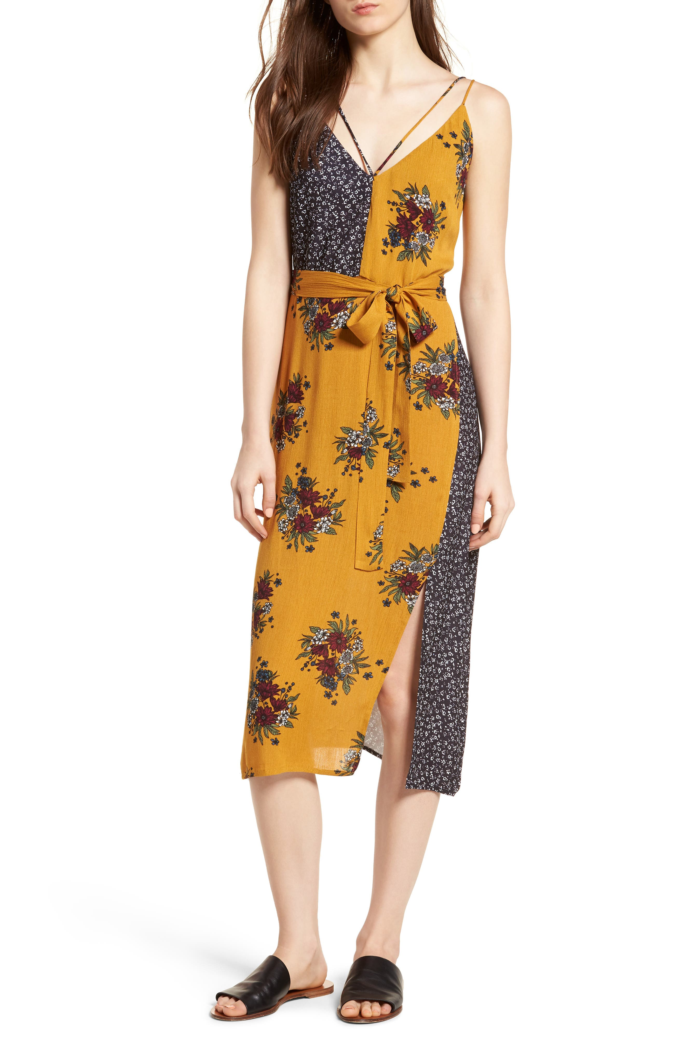 See Me Print Midi Dress,                             Main thumbnail 1, color,                             Honey