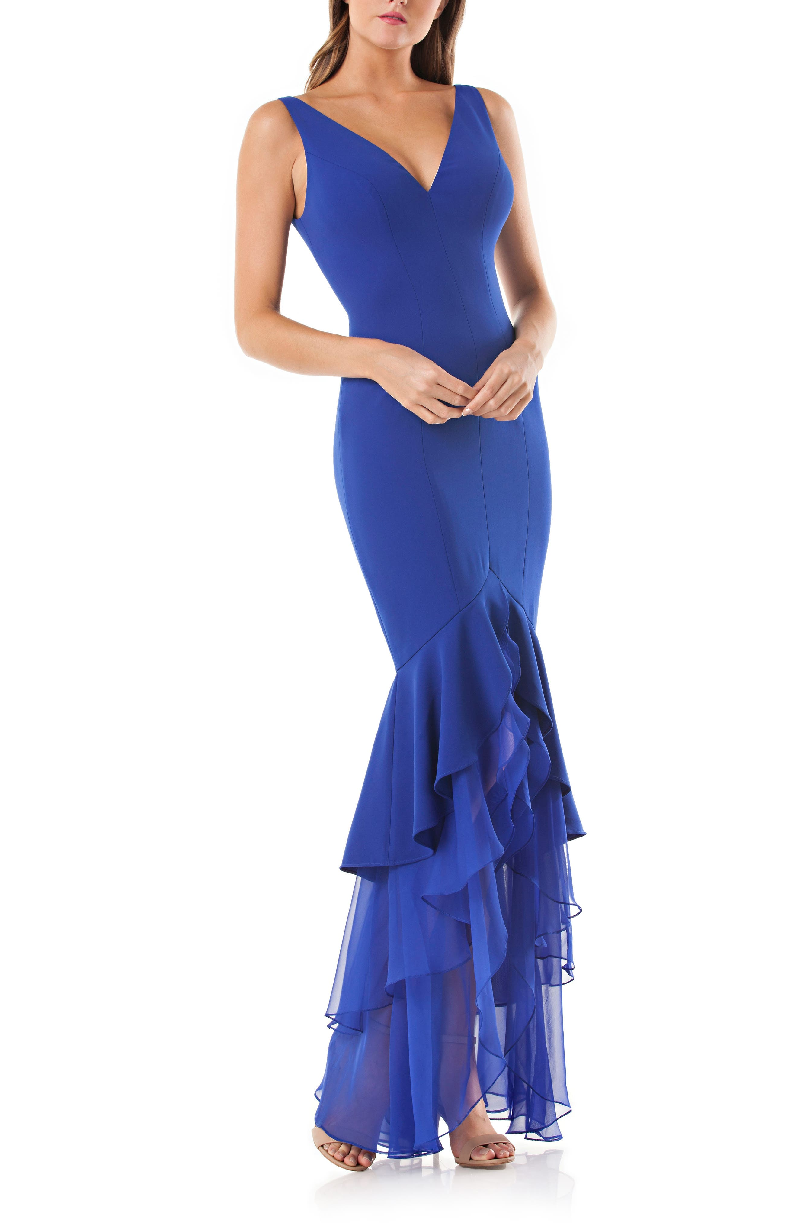 Tiered Mermaid Gown,                         Main,                         color, Cobalt