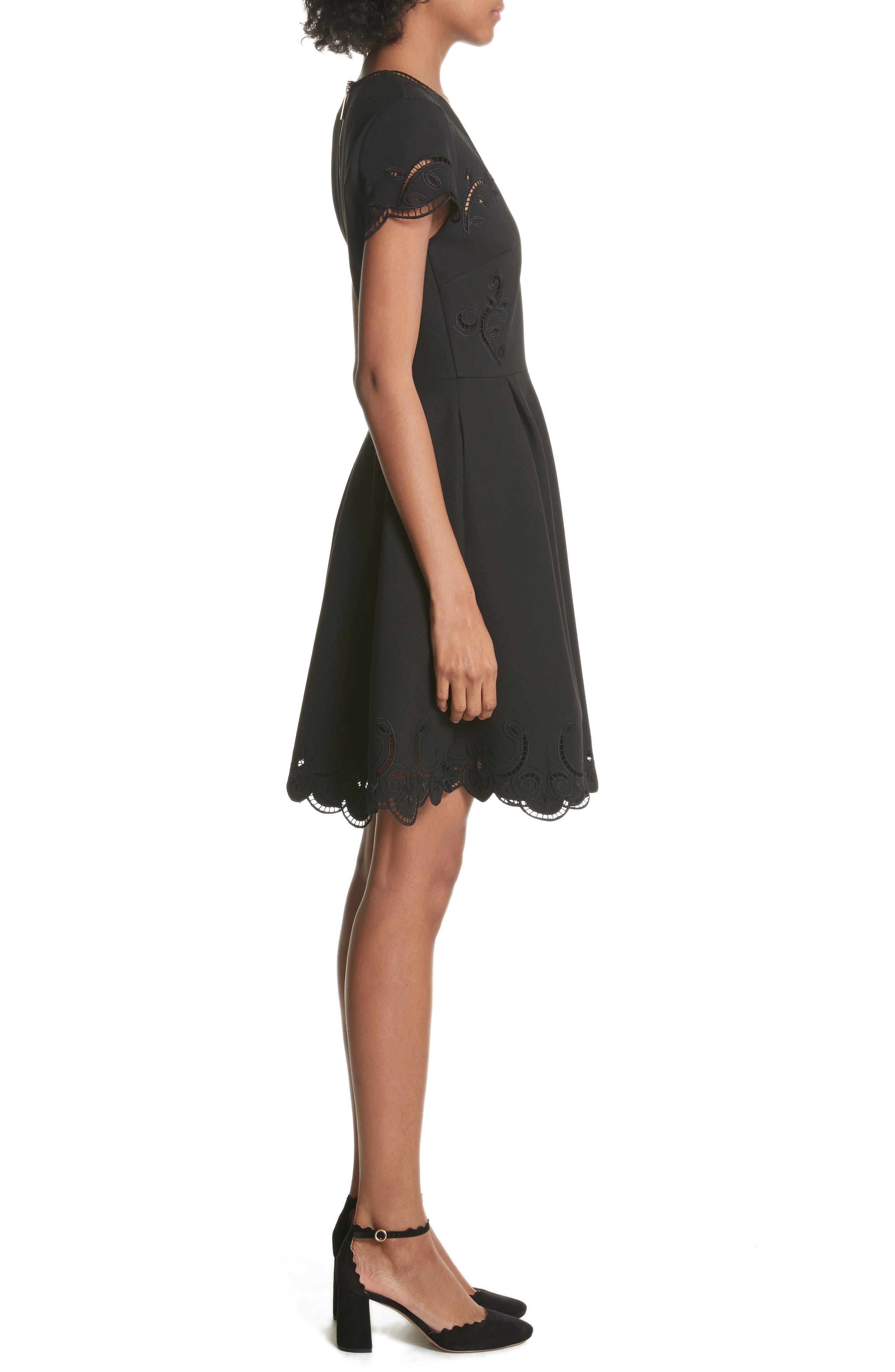 Embroidered Skater Dress,                             Alternate thumbnail 3, color,                             Black