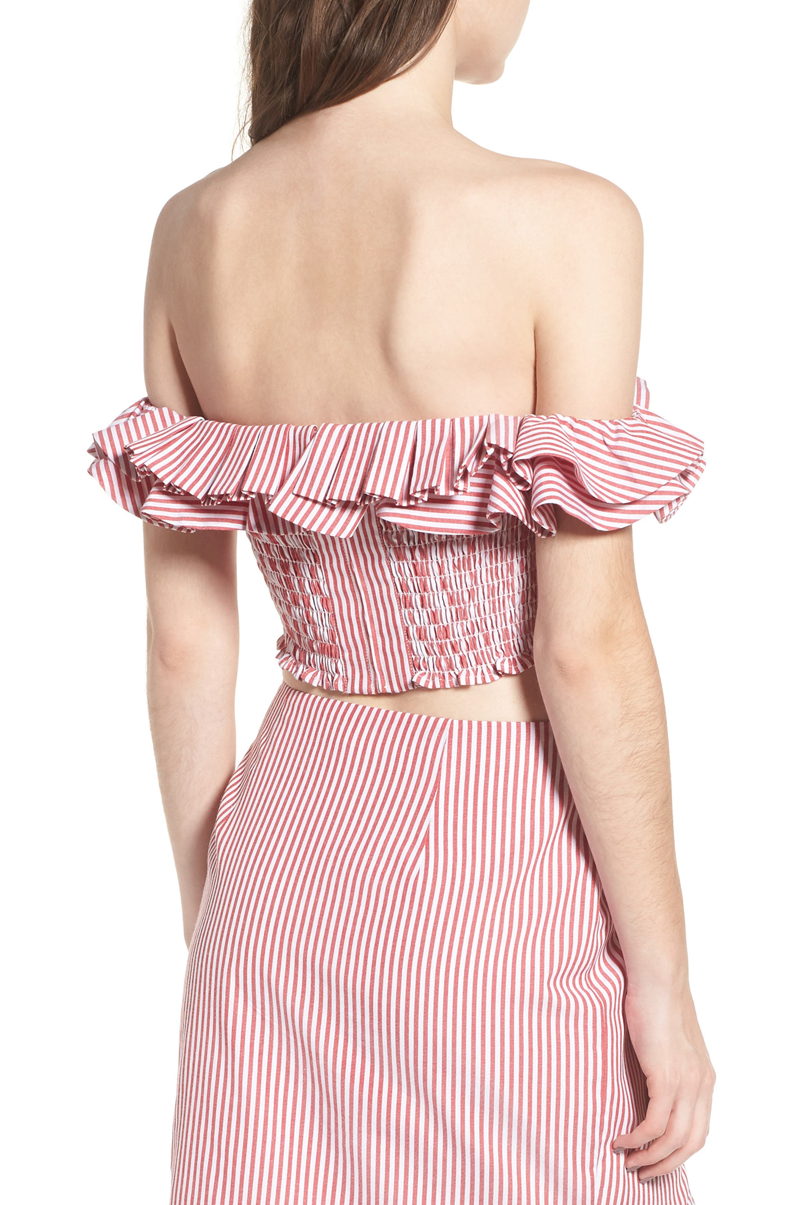 Anzio Off the Shoulder Ruffle Crop Top,                             Alternate thumbnail 8, color,                             Red Stripe