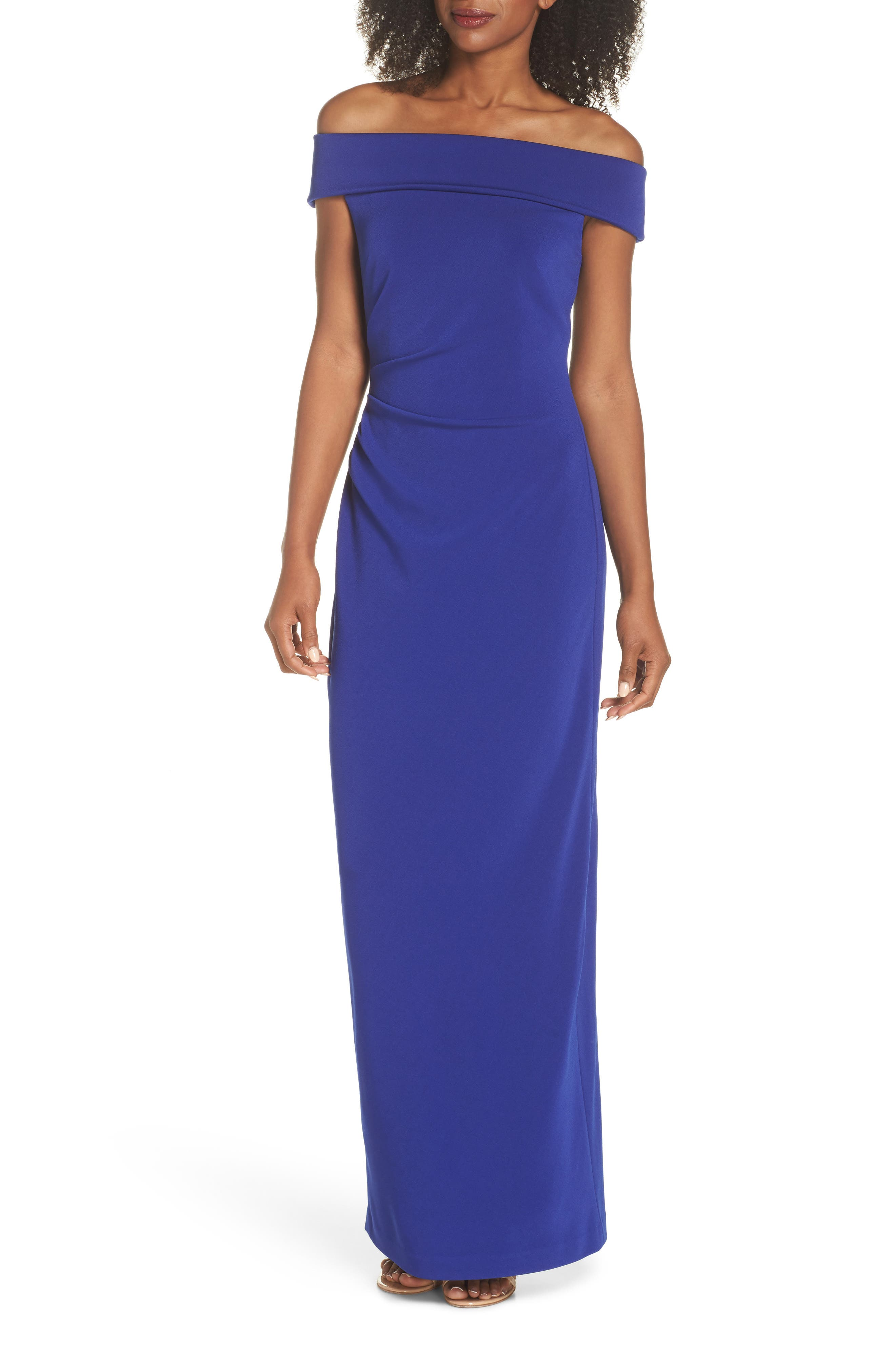 Off the Shoulder Gown,                             Main thumbnail 1, color,                             Royal