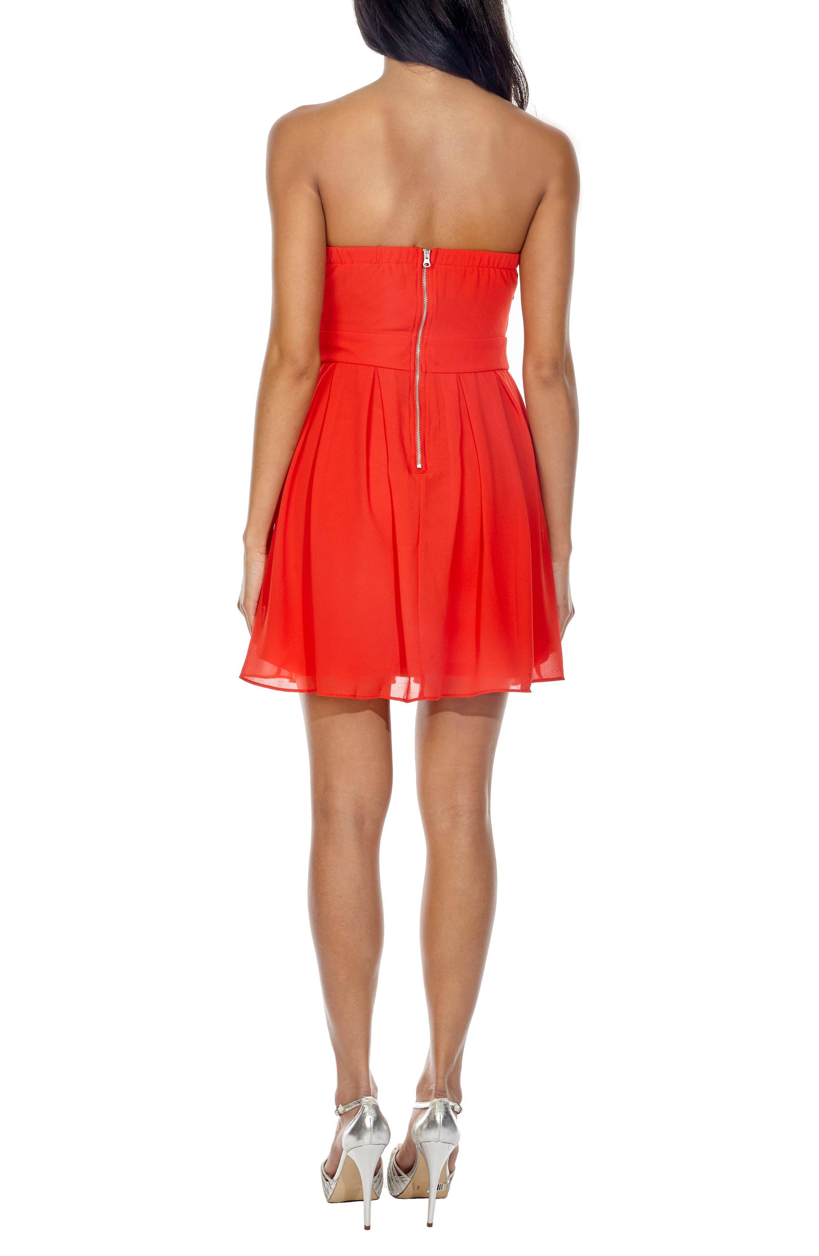 Elida Pleat Skirt Strapless Fit & Flare Dress,                             Alternate thumbnail 2, color,                             Red