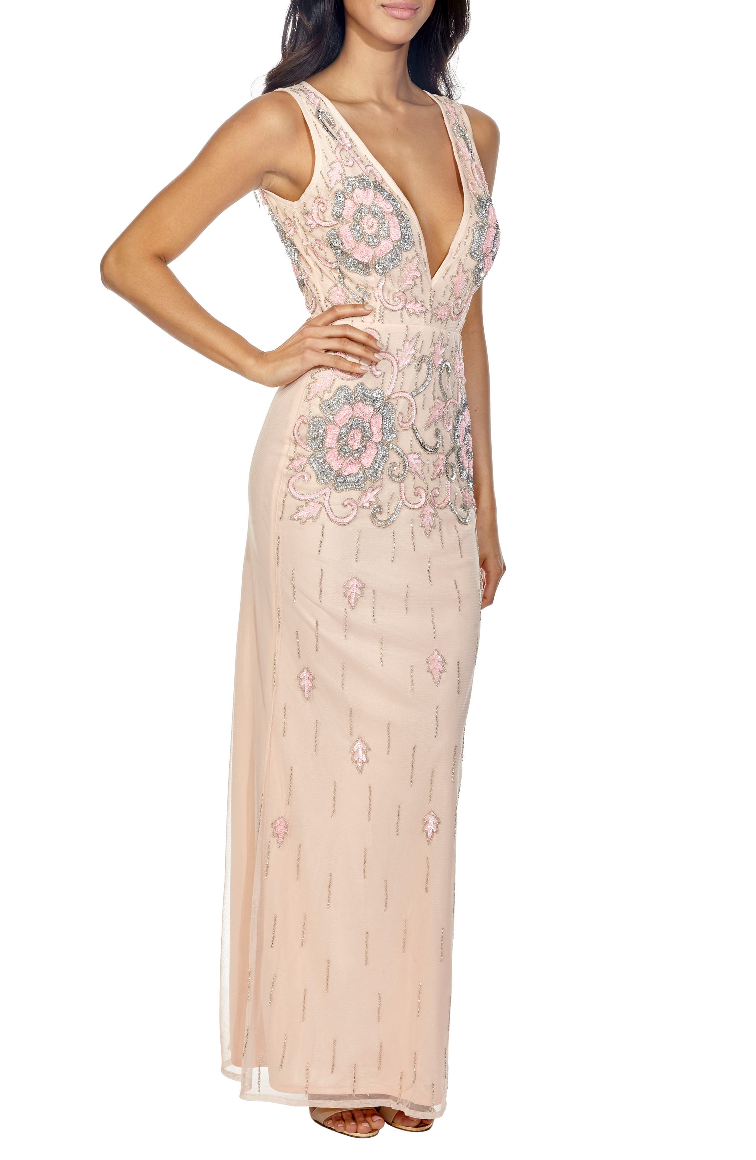 Gilly Sequin Maxi Dress,                             Alternate thumbnail 3, color,                             Nude