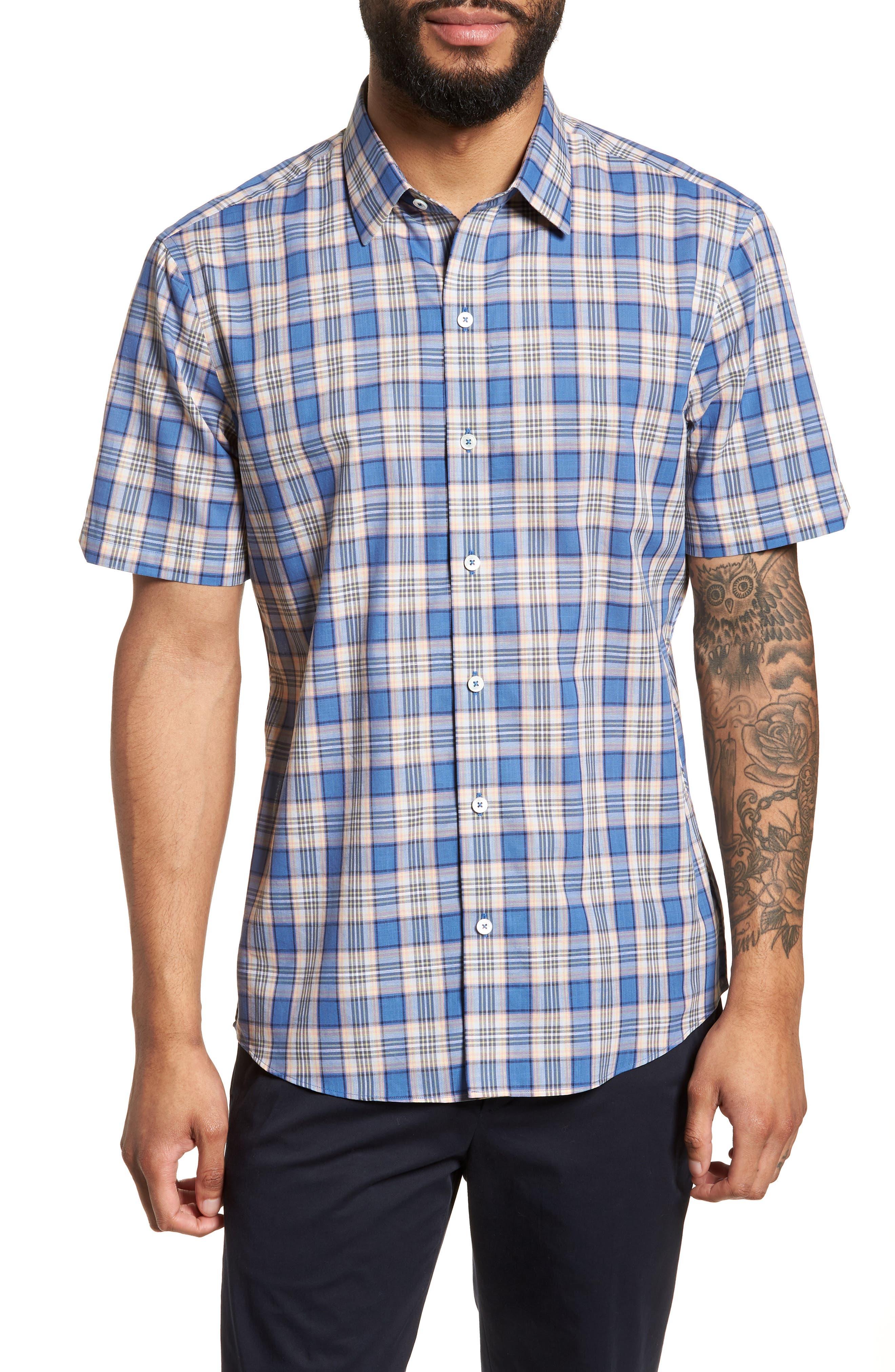 Carter Plaid Sport Shirt,                         Main,                         color, Blue