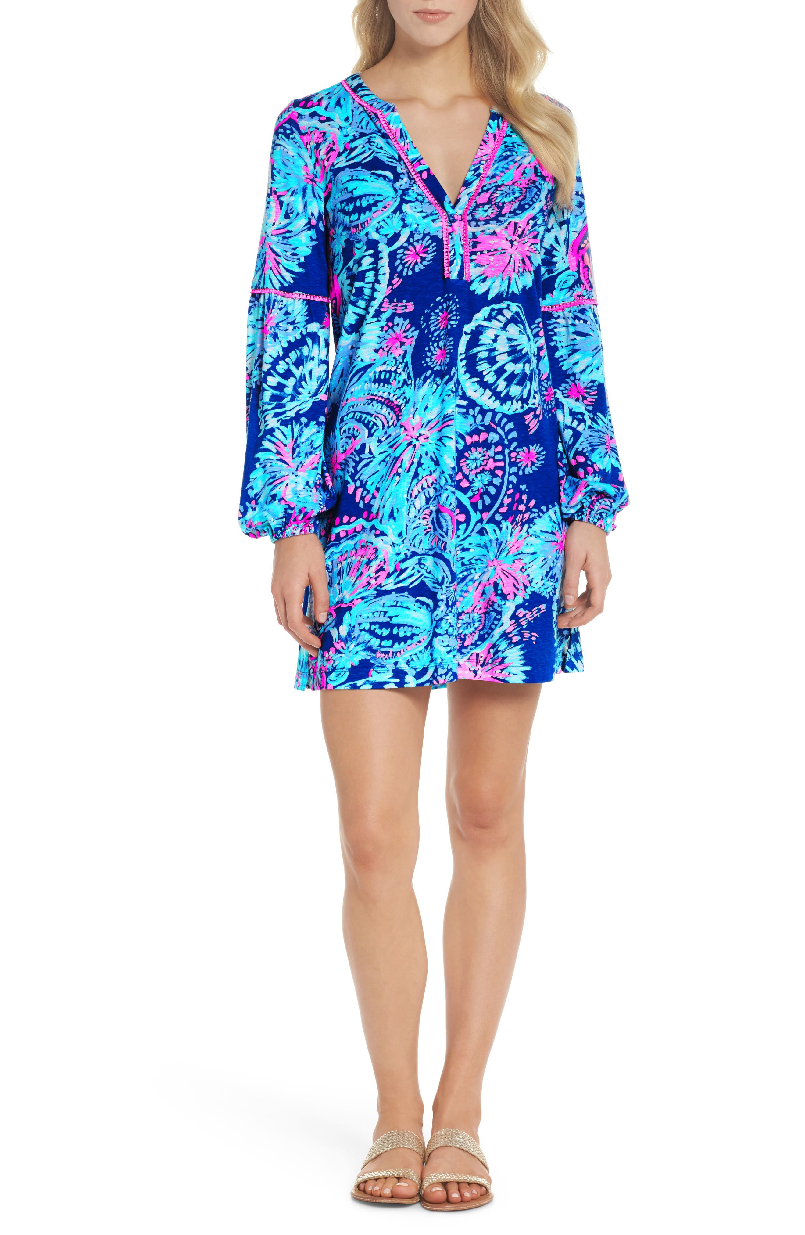 Joy Floral Print Shift Dress,                         Main,                         color, Deep Indigo Gypsea Girl