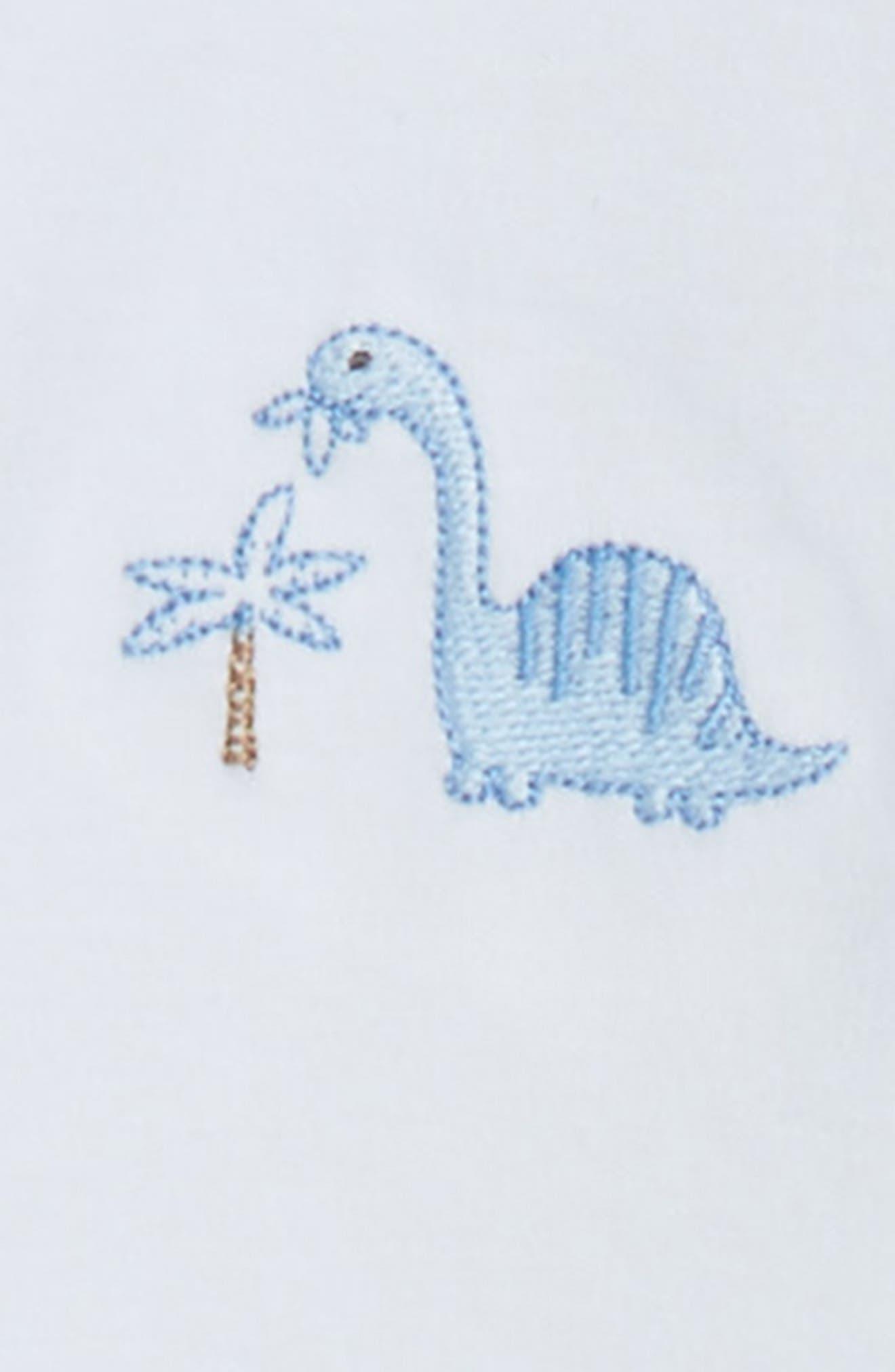 Dino Dudes Pima Cotton Footie,                             Alternate thumbnail 2, color,                             Light Blue