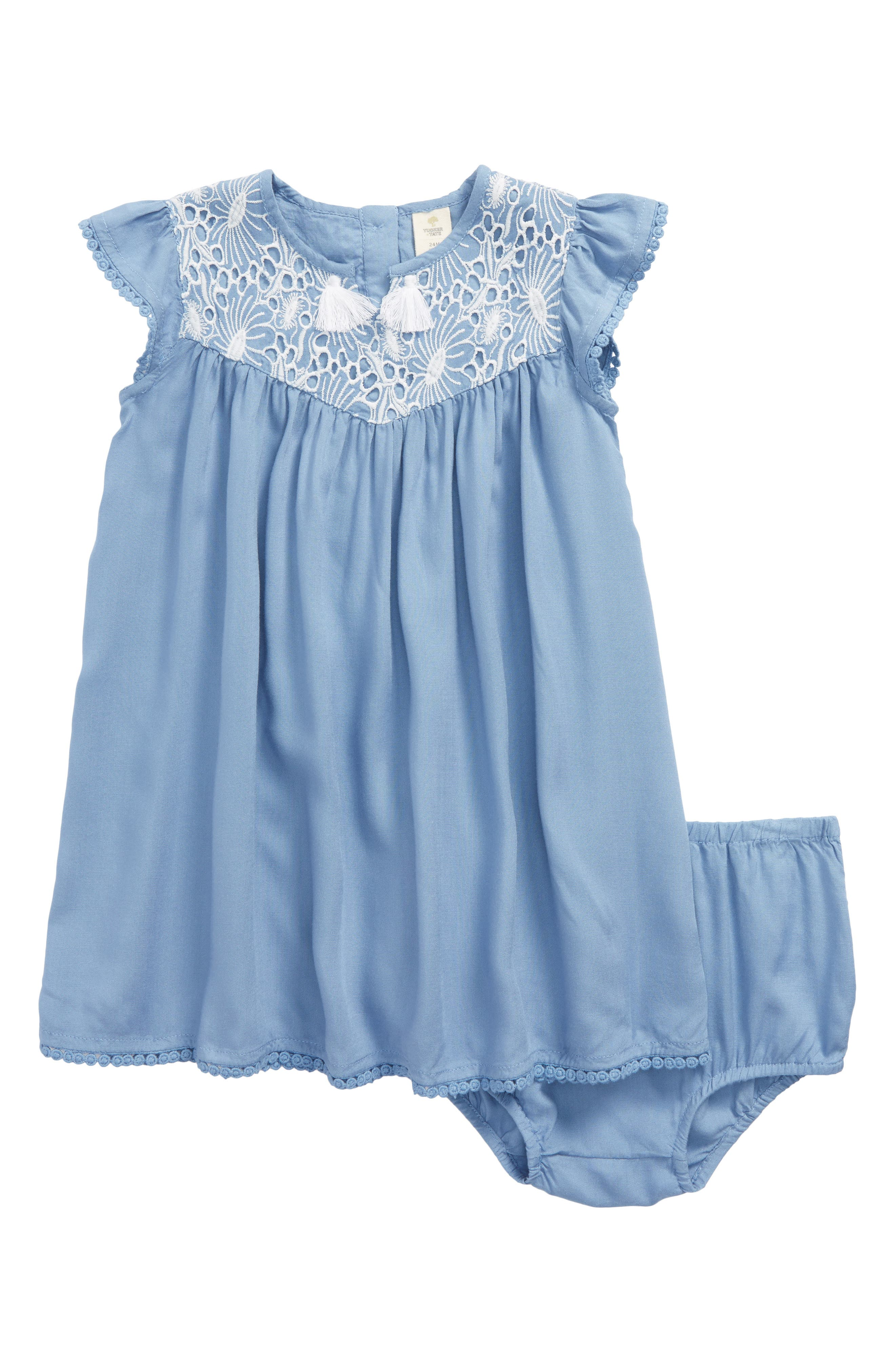 Embroidered Dress,                         Main,                         color, Blue