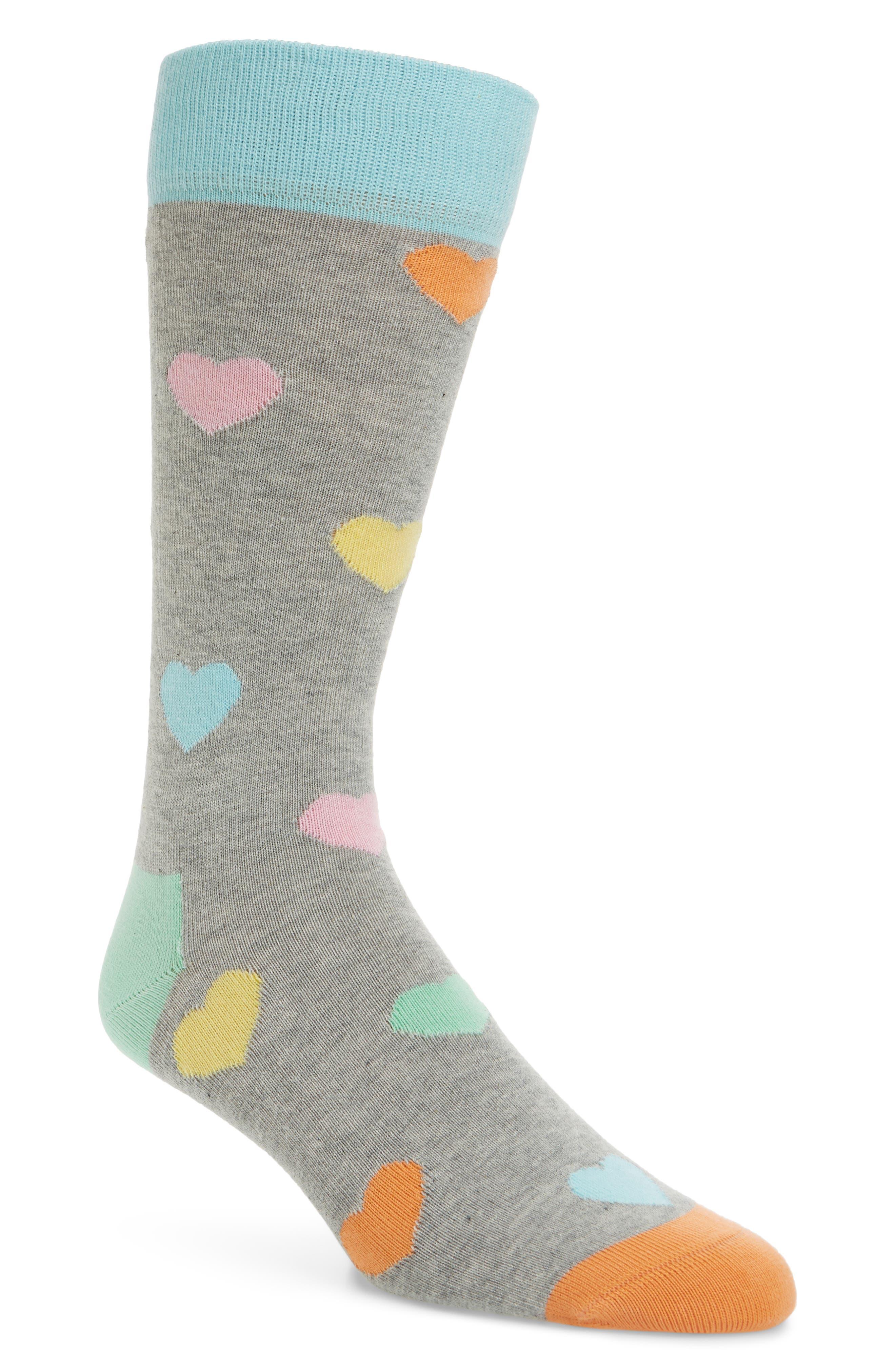 Hearts Socks,                         Main,                         color, Grey Multi