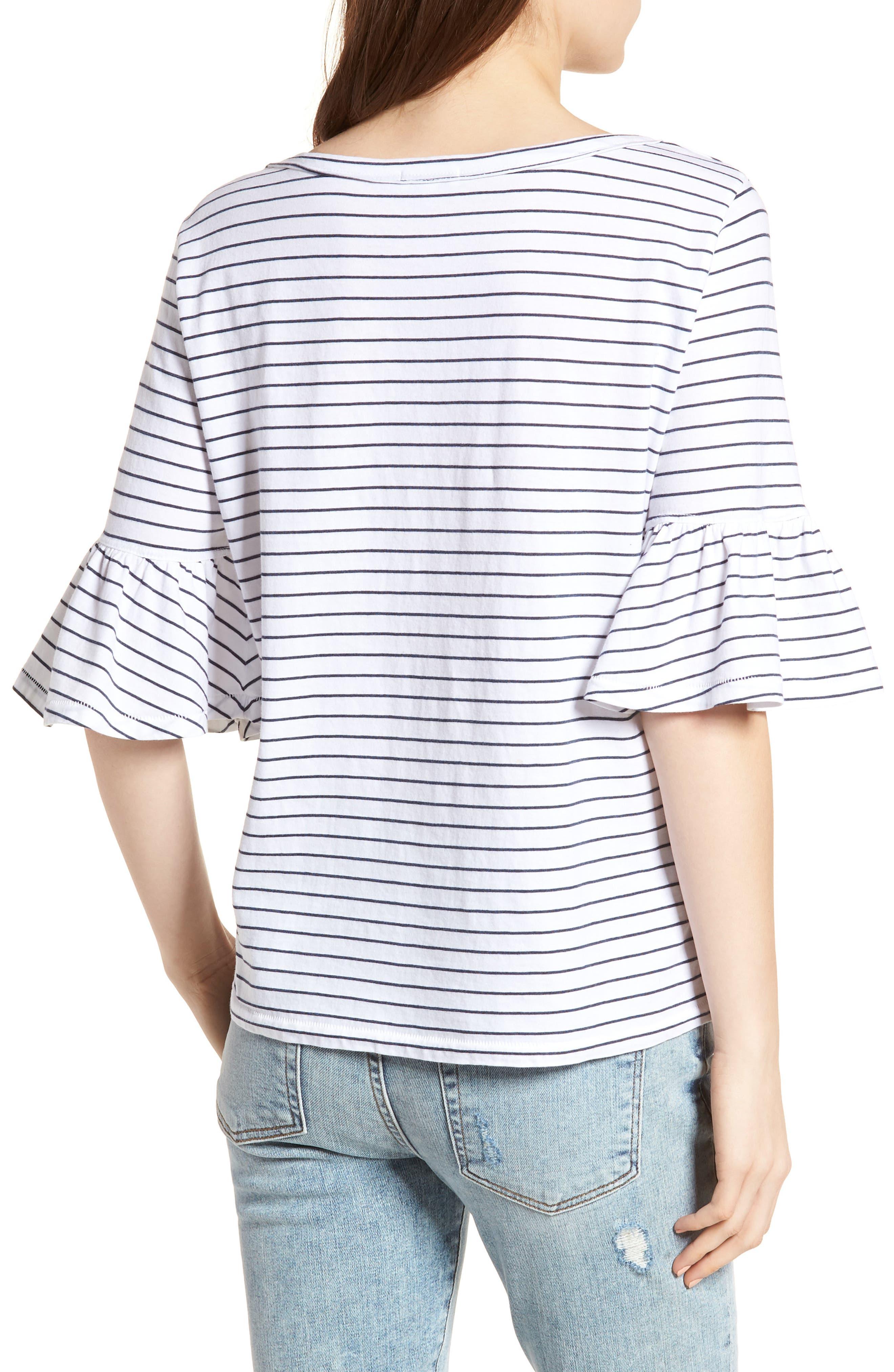 Stripe Ruffle Sleeve Tee,                             Alternate thumbnail 2, color,                             White/ Navy