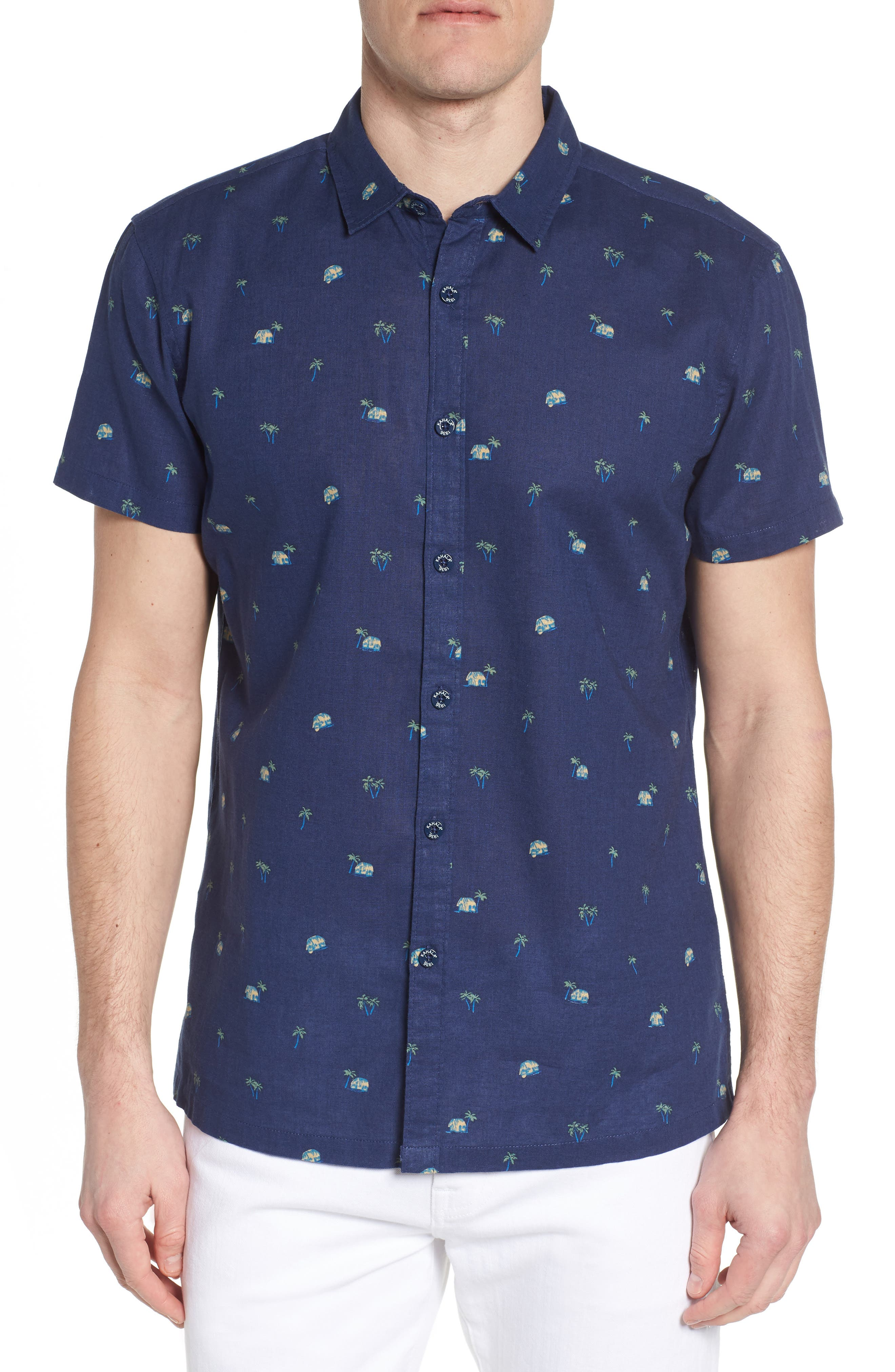 Hale Niu Trim Fit Linen Blend Camp Shirt,                         Main,                         color, Navy
