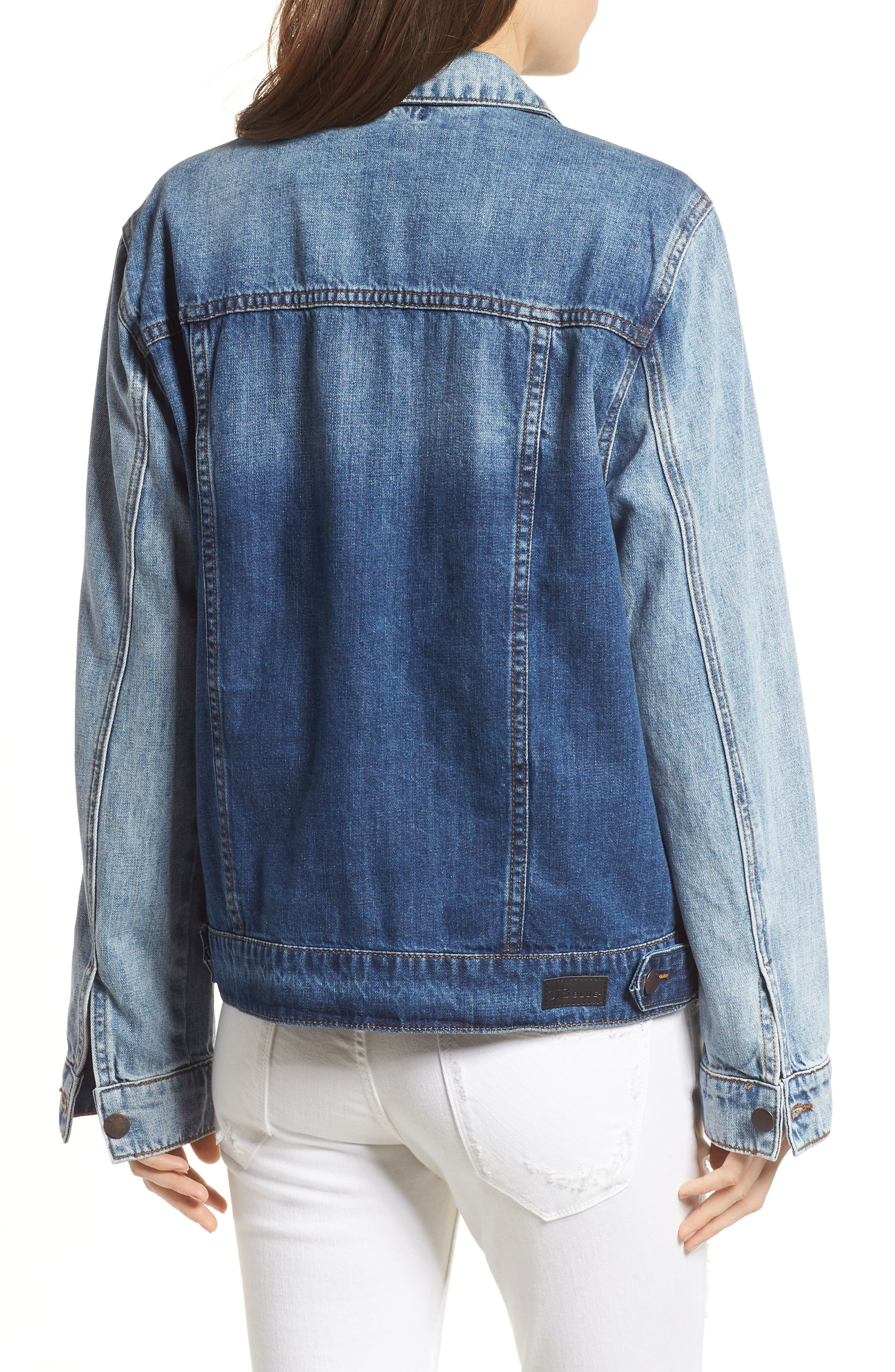 Oversize Colorblock Denim Jacket,                             Alternate thumbnail 2, color,                             Oakhurst