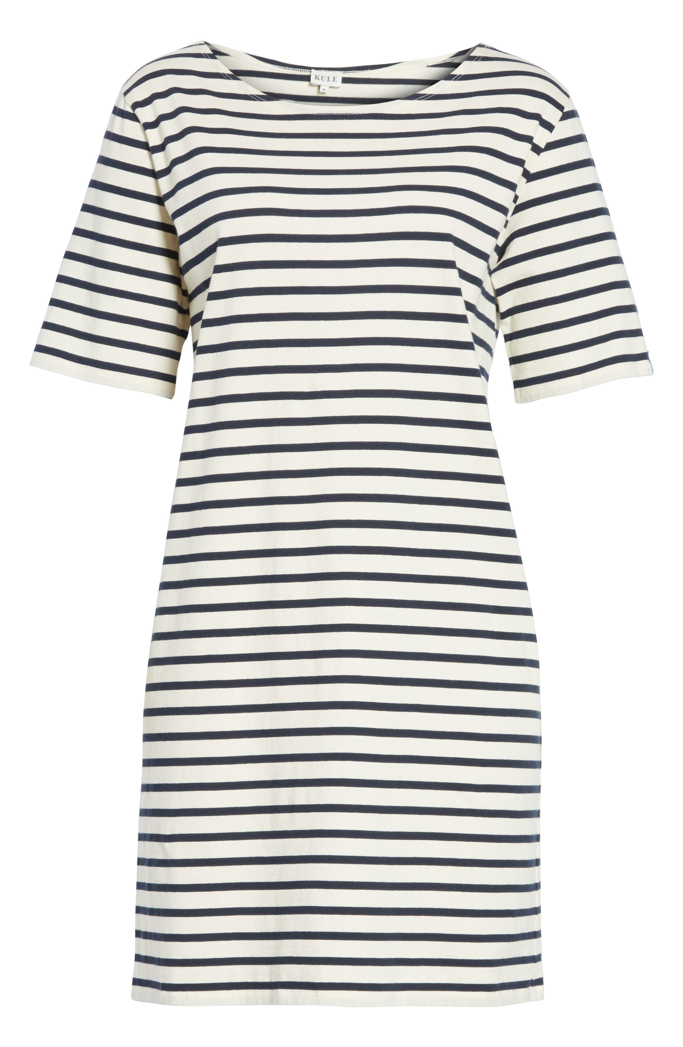 The Tee Stripe Dress,                             Alternate thumbnail 6, color,                             Cream/ Navy