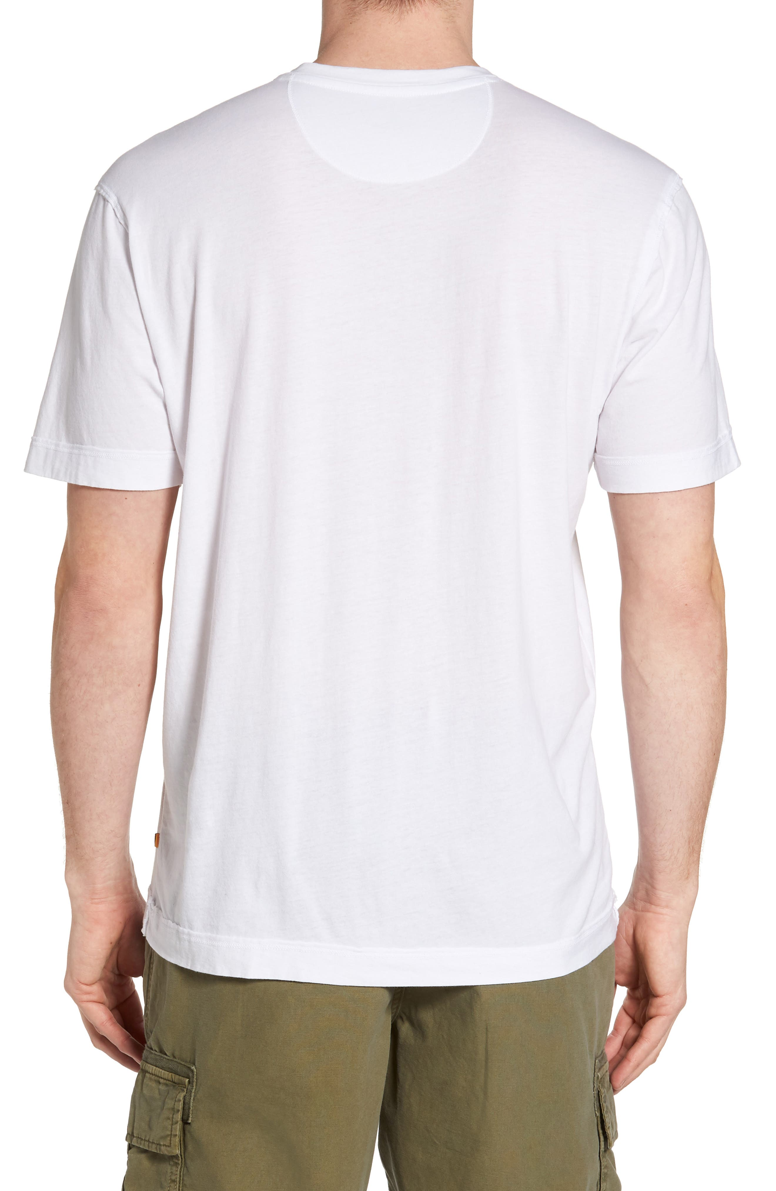 Cross Raw Seam V-Neck T-Shirt,                             Alternate thumbnail 2, color,                             White