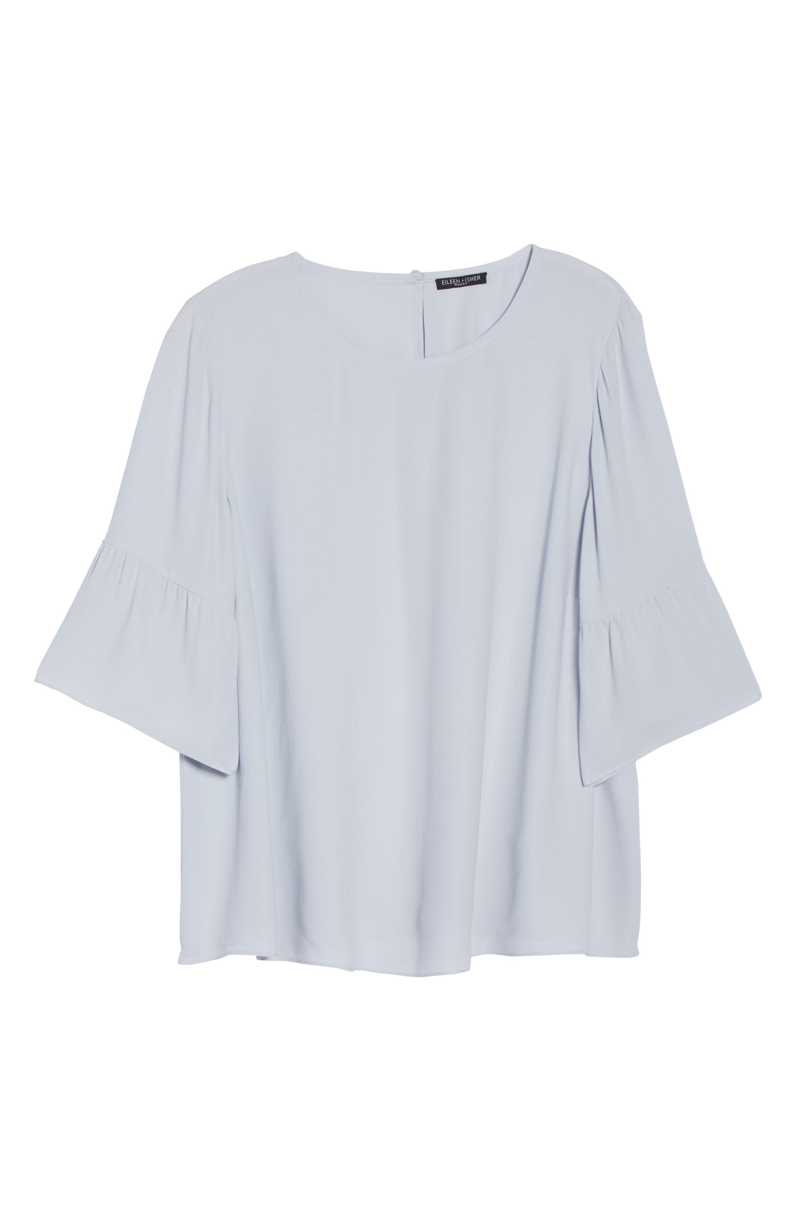 Ruffled Sleeve Silk Top,                             Alternate thumbnail 7, color,                             India Sky