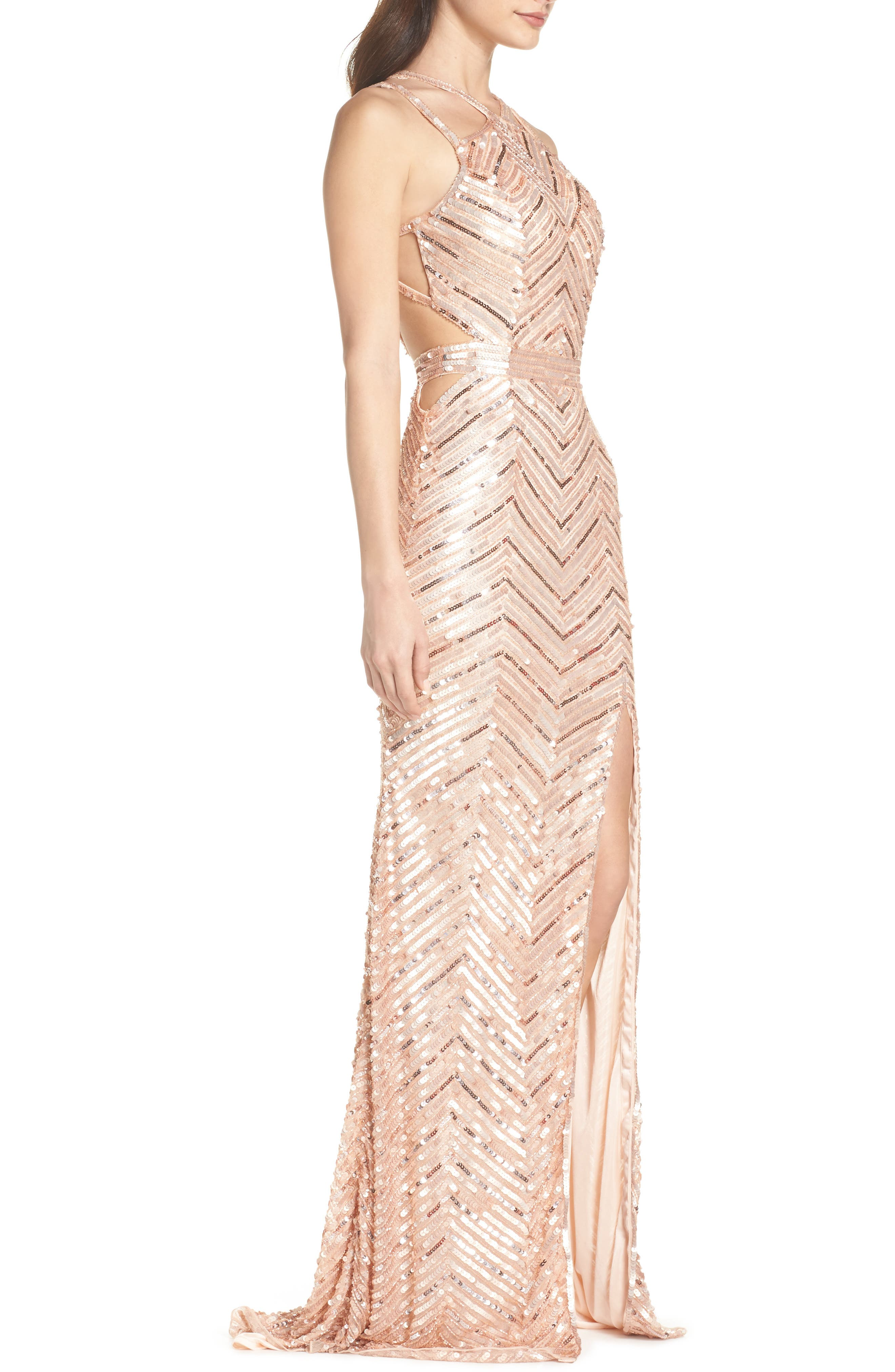Sequin Strappy Gown,                             Alternate thumbnail 3, color,                             Rose Gold