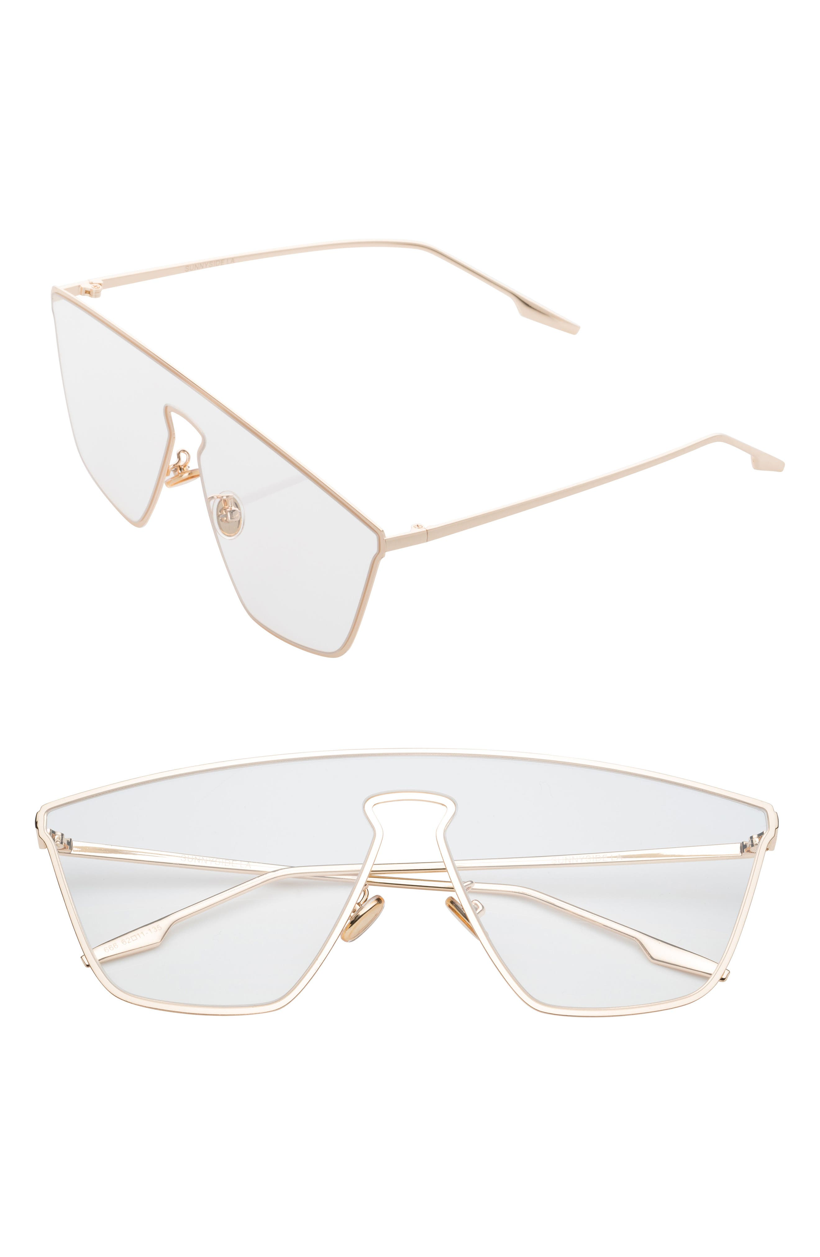 Irregular 65mm Clear Glasses,                         Main,                         color, Clear/ Gold