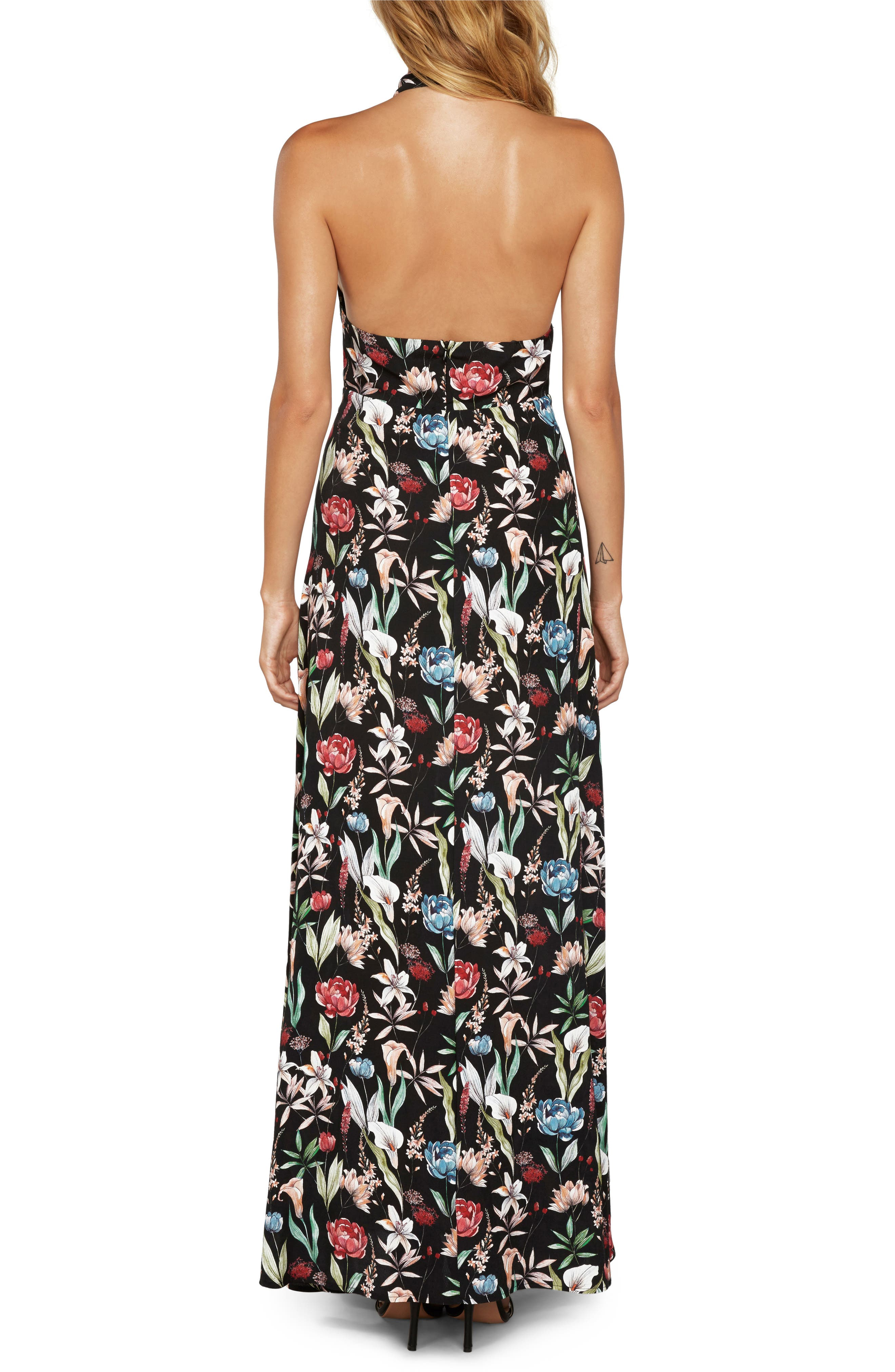Alternate Image 2  - Willow & Clay Print Halter Maxi Dress
