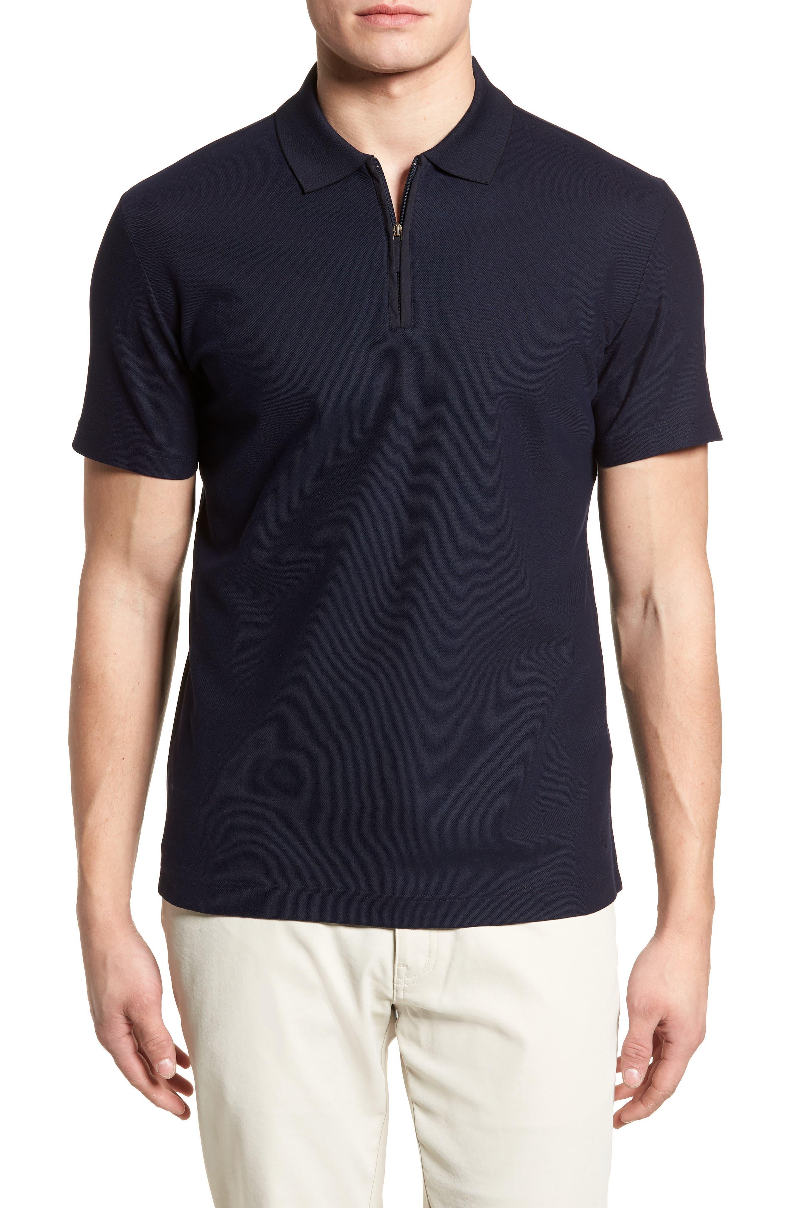 Zip Polo,                         Main,                         color, Navy