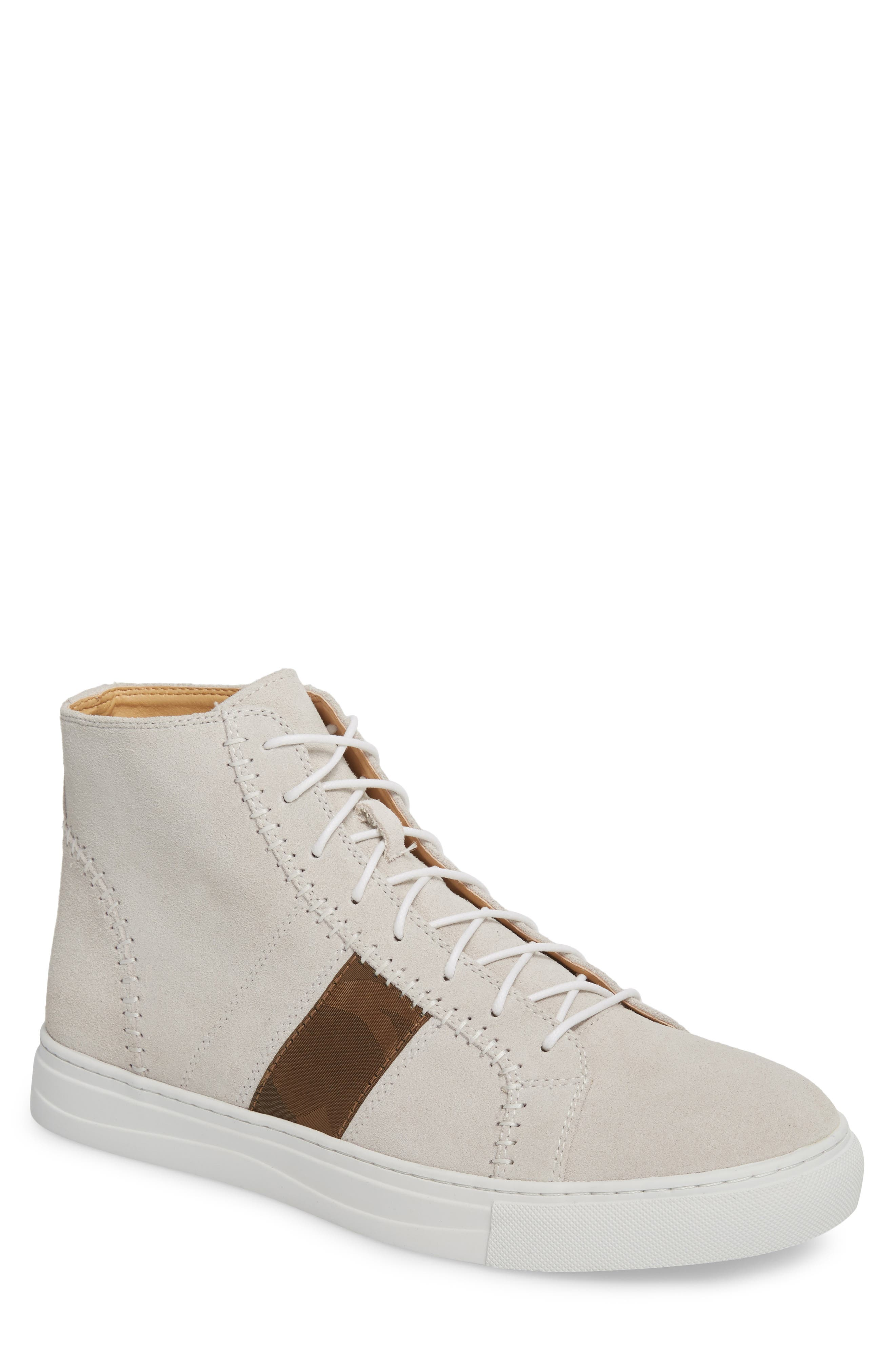 High Top Sneaker,                             Main thumbnail 1, color,                             White Suede