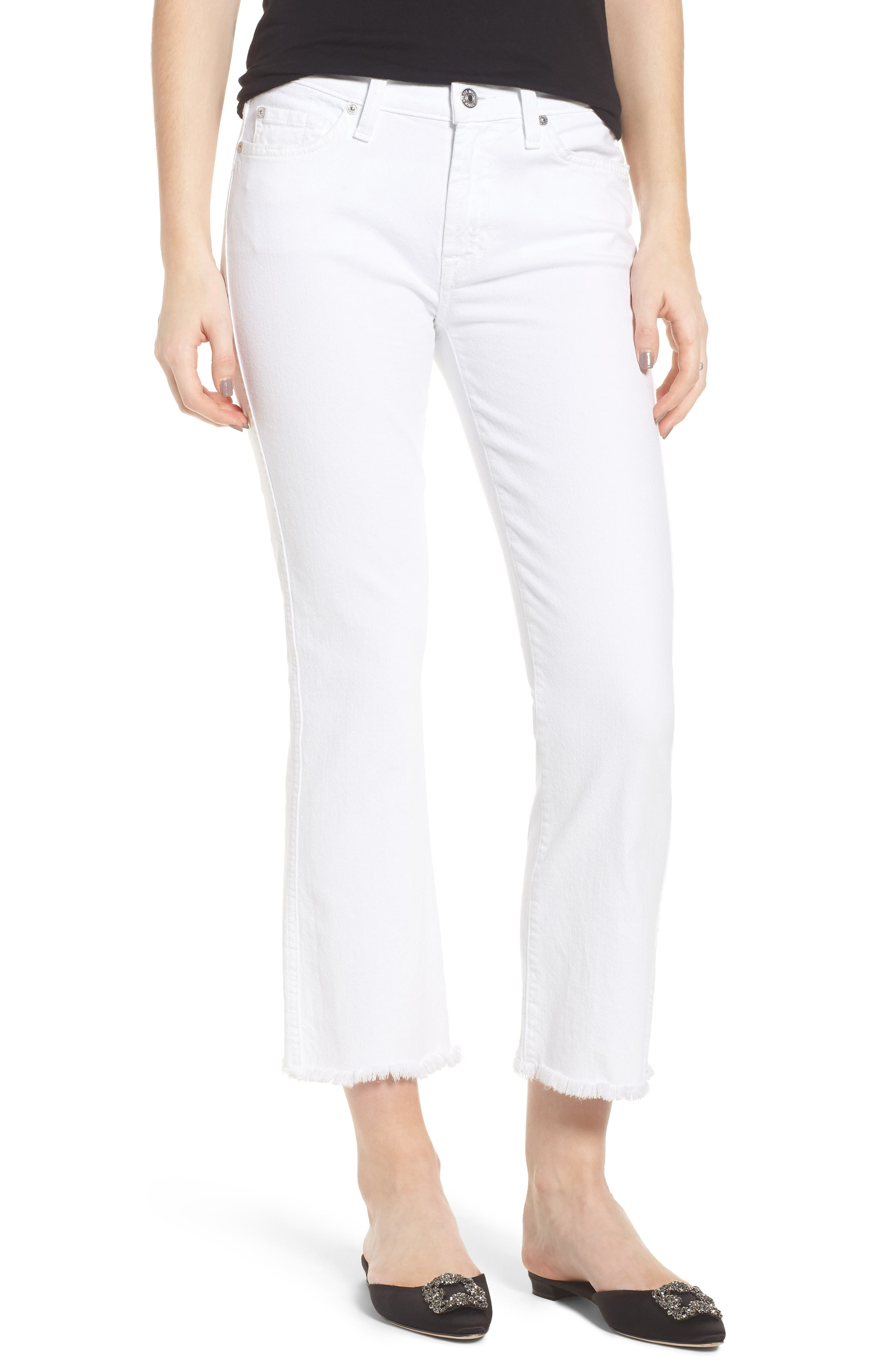 Frayed Crop Bootcut Jeans,                             Main thumbnail 1, color,                             White Fashion
