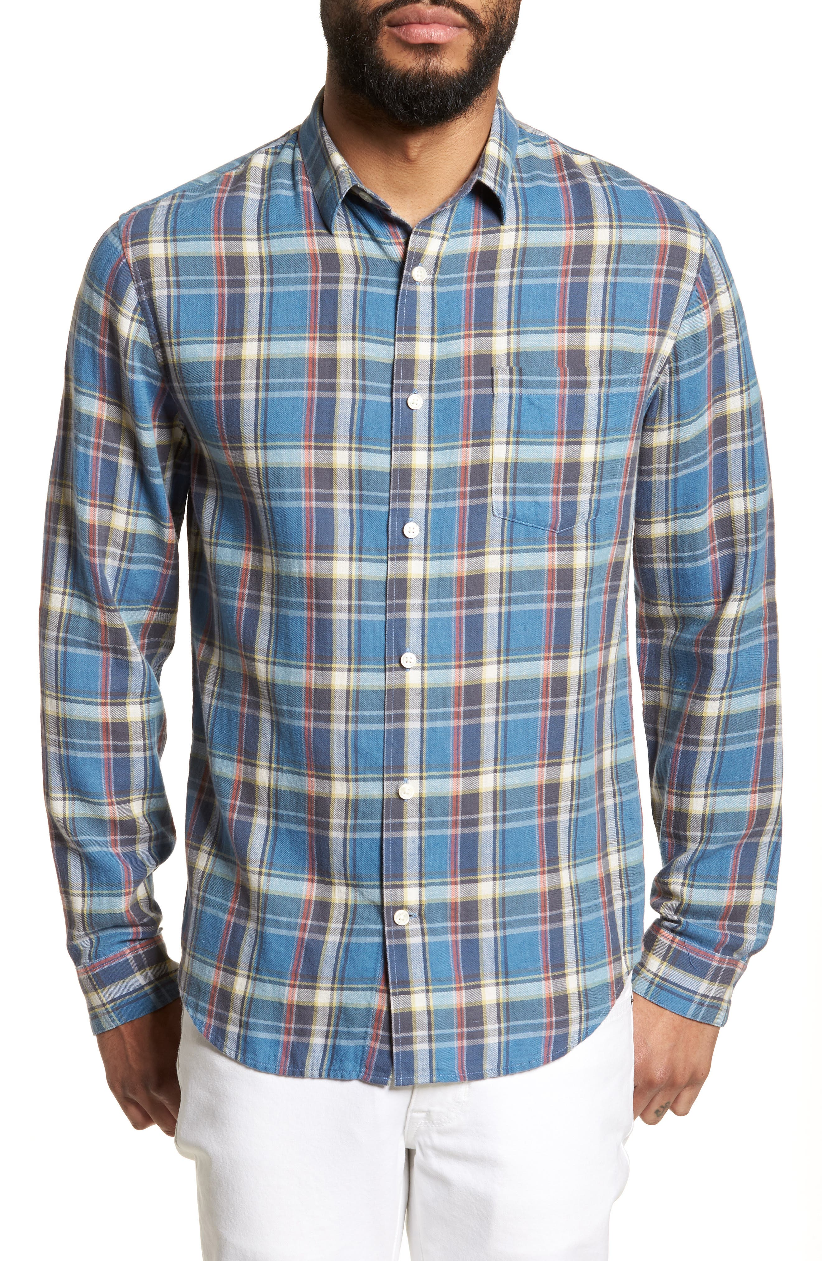 Slim Fit Plaid Sport Shirt,                         Main,                         color, Light Blue