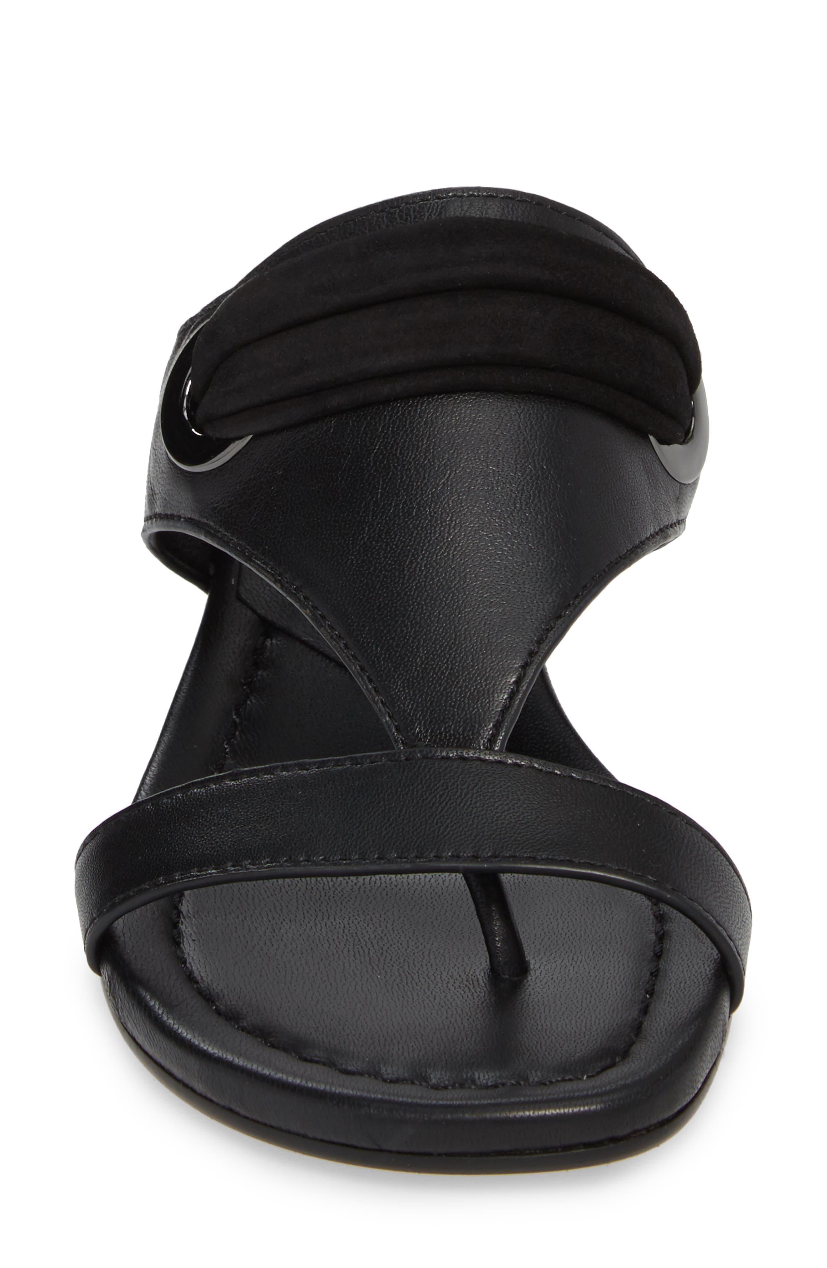 Dionne Wedge Sandal,                             Alternate thumbnail 4, color,                             Black Leather