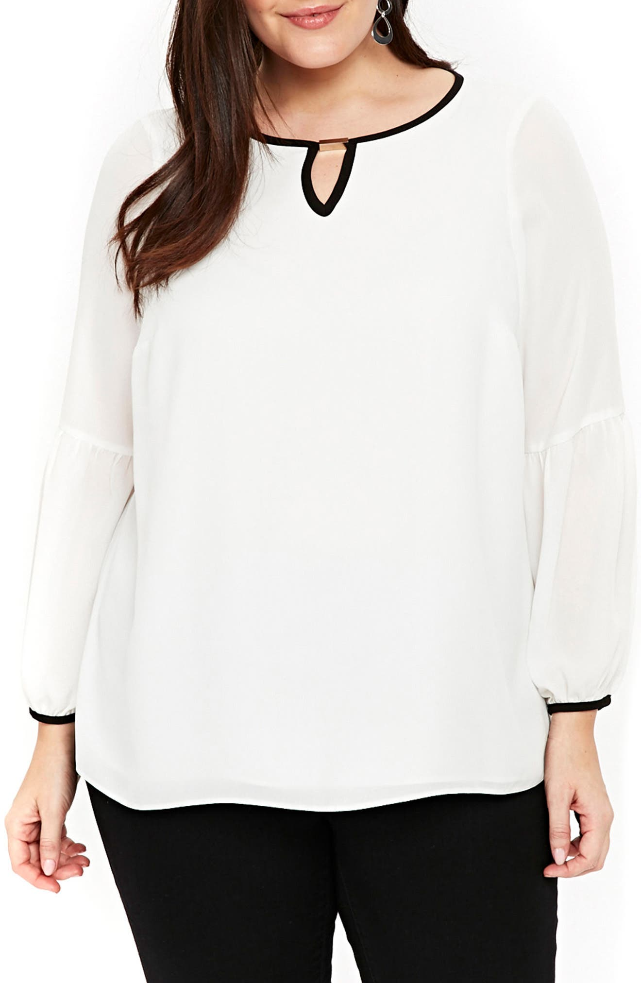 Alternate Image 1 Selected - Evans Contrast Trim Keyhole Top (Plus Size)