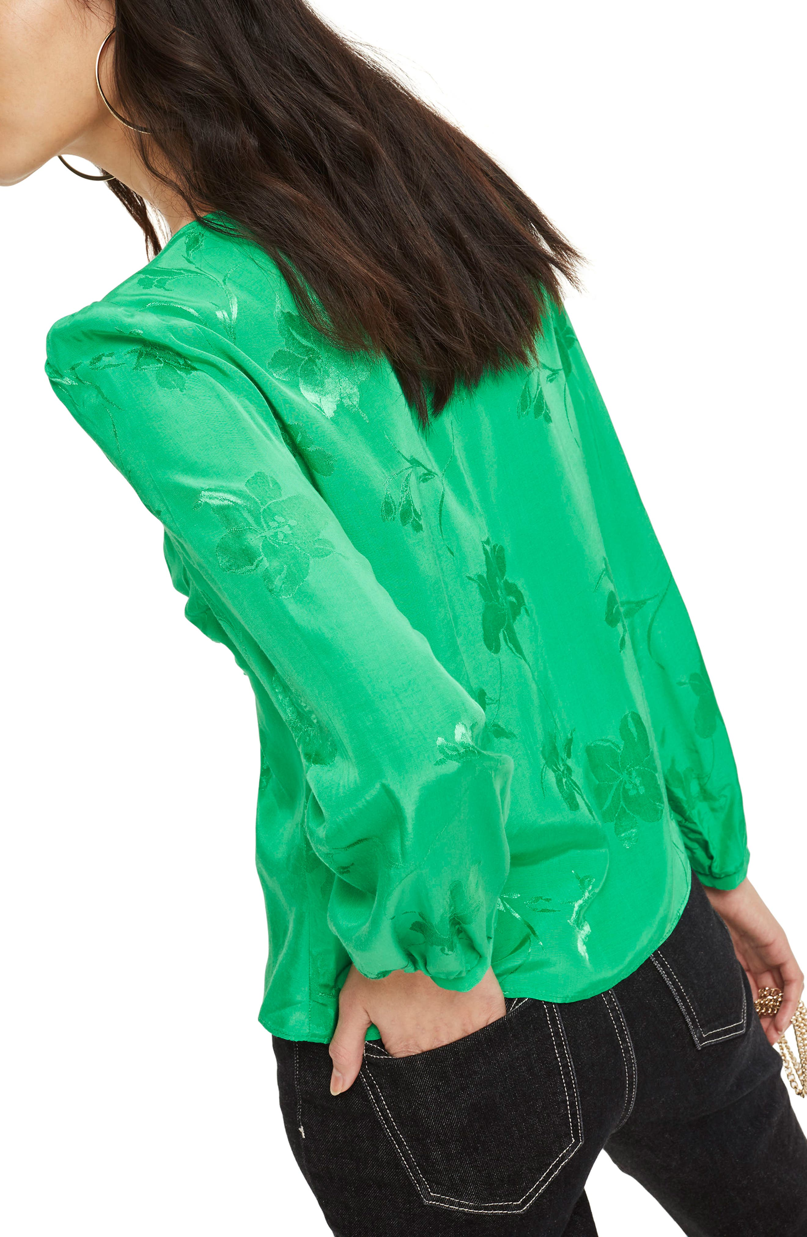 Floral Jacquard Blouse,                             Alternate thumbnail 3, color,                             Green