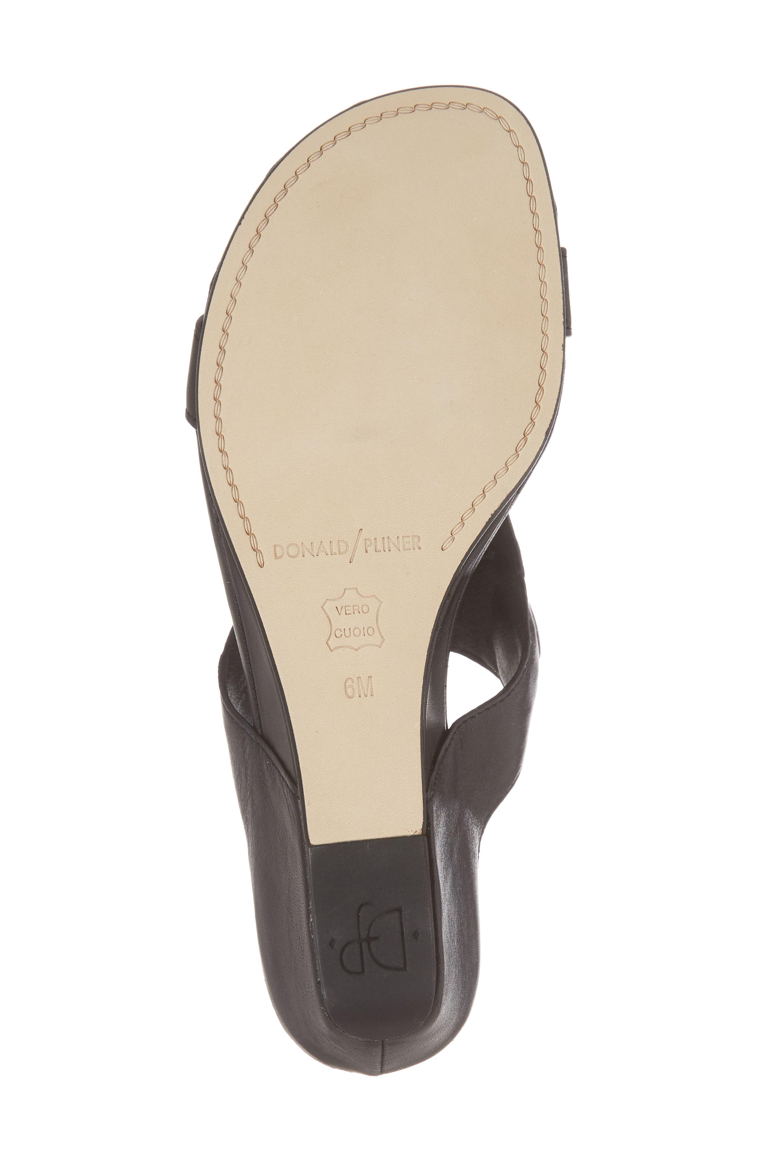 Dionne Wedge Sandal,                             Alternate thumbnail 6, color,                             Black Leather