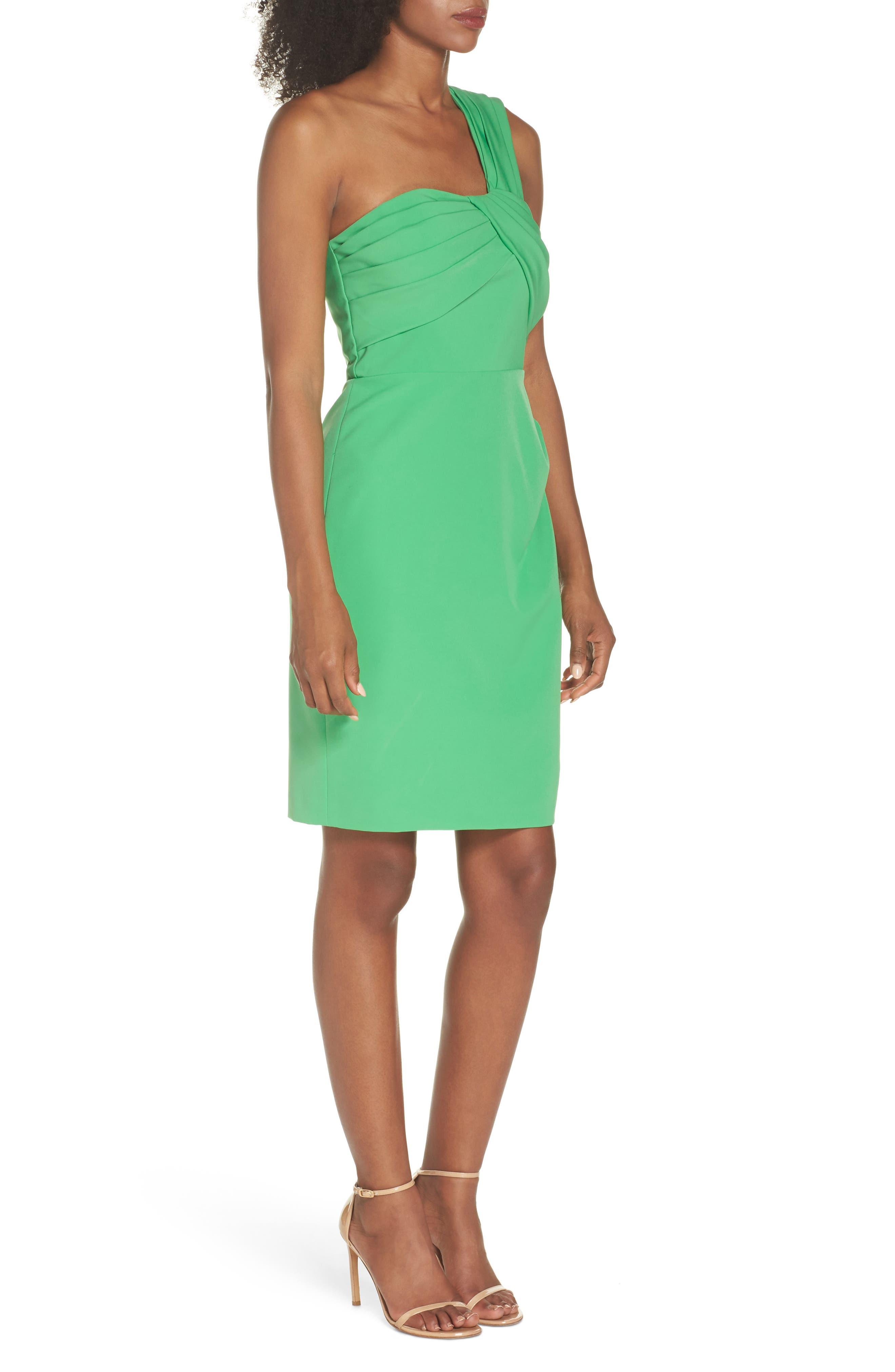 Laguna One-Shoulder Scuba Dress,                             Alternate thumbnail 3, color,                             Green