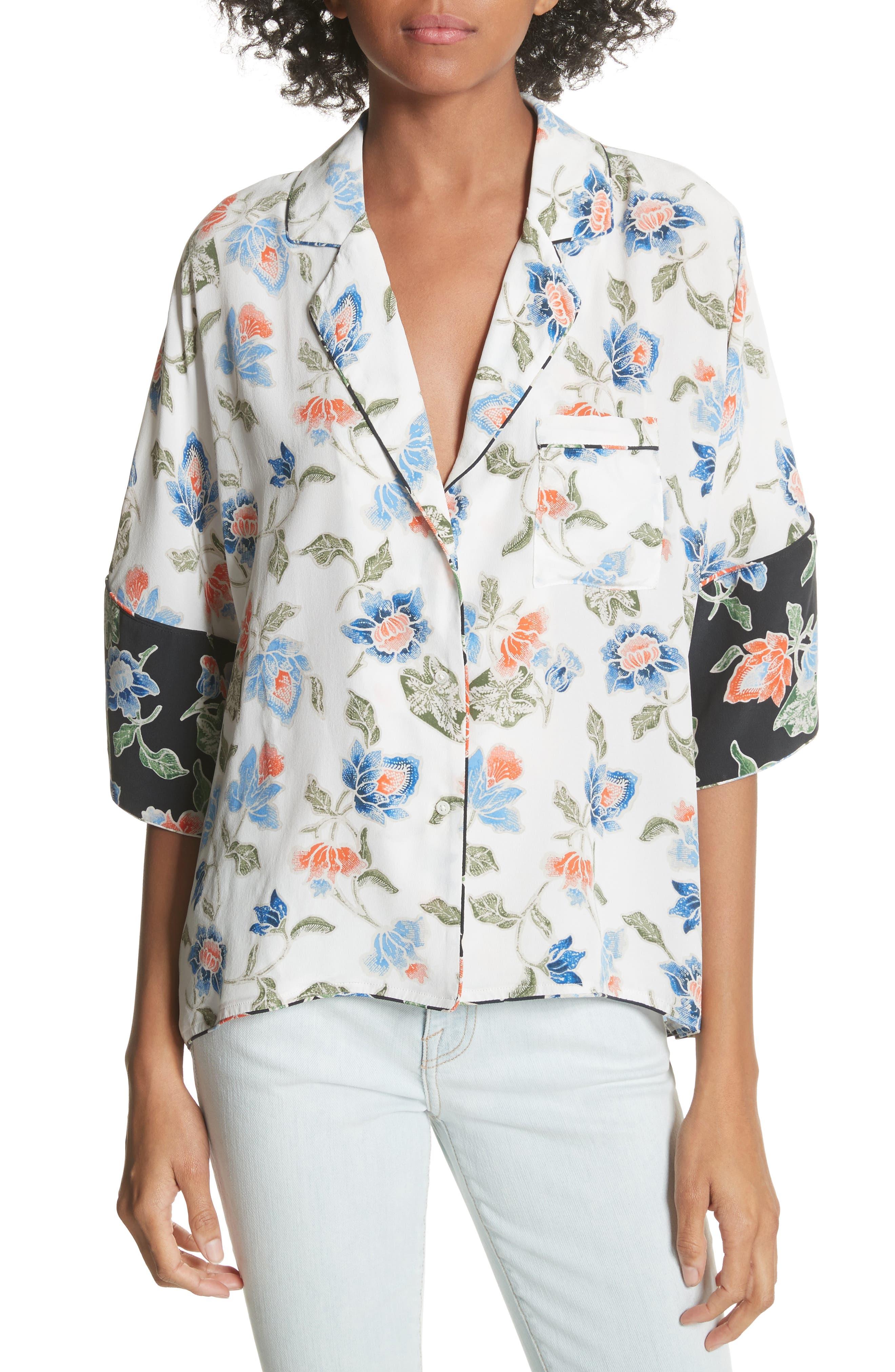 Desmonda Floral Contrast Cuff Silk Blouse,                             Main thumbnail 1, color,                             Porcelain
