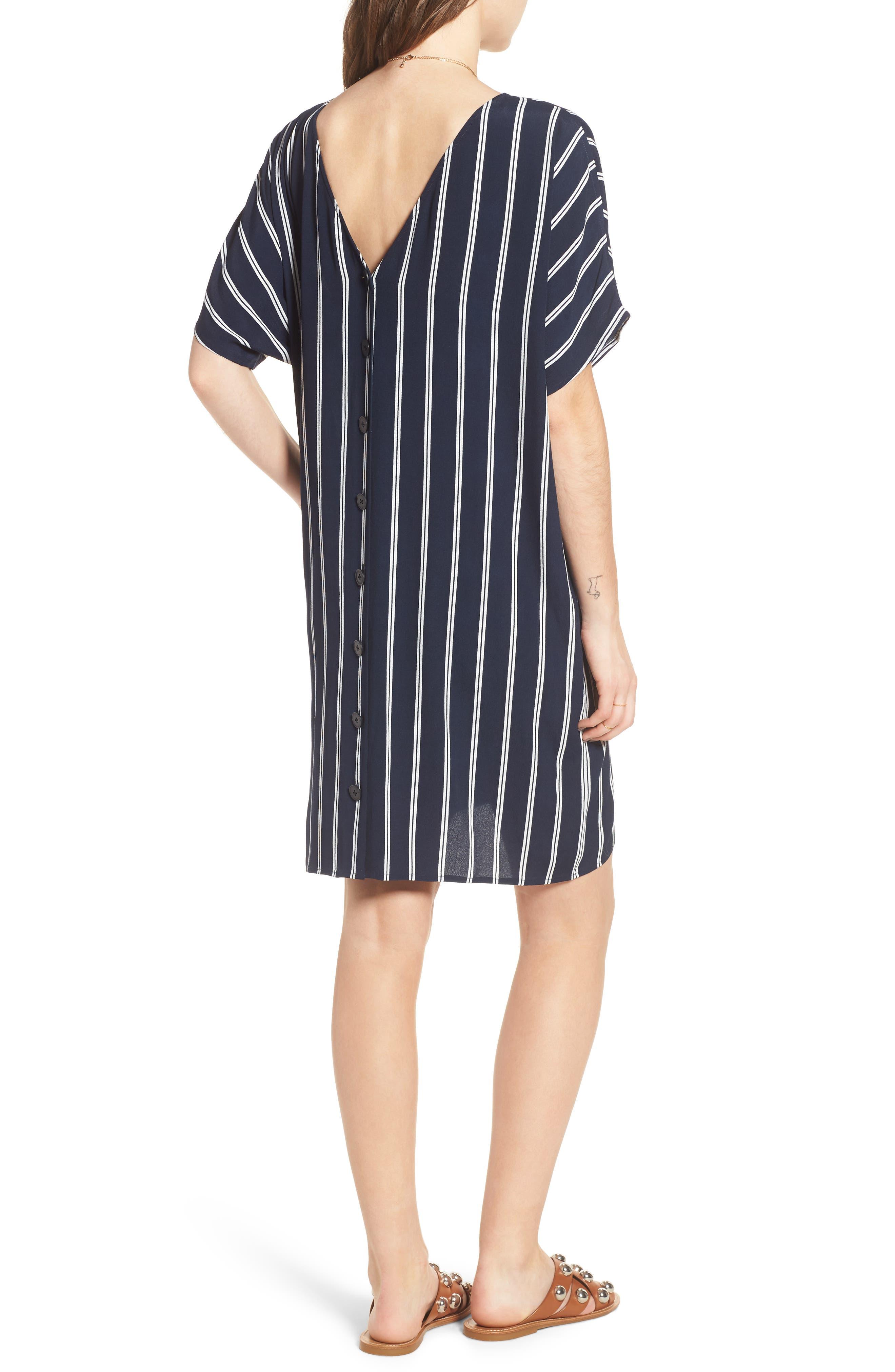 Stripe Plaza Dress,                             Alternate thumbnail 2, color,                             Double Deep Navy