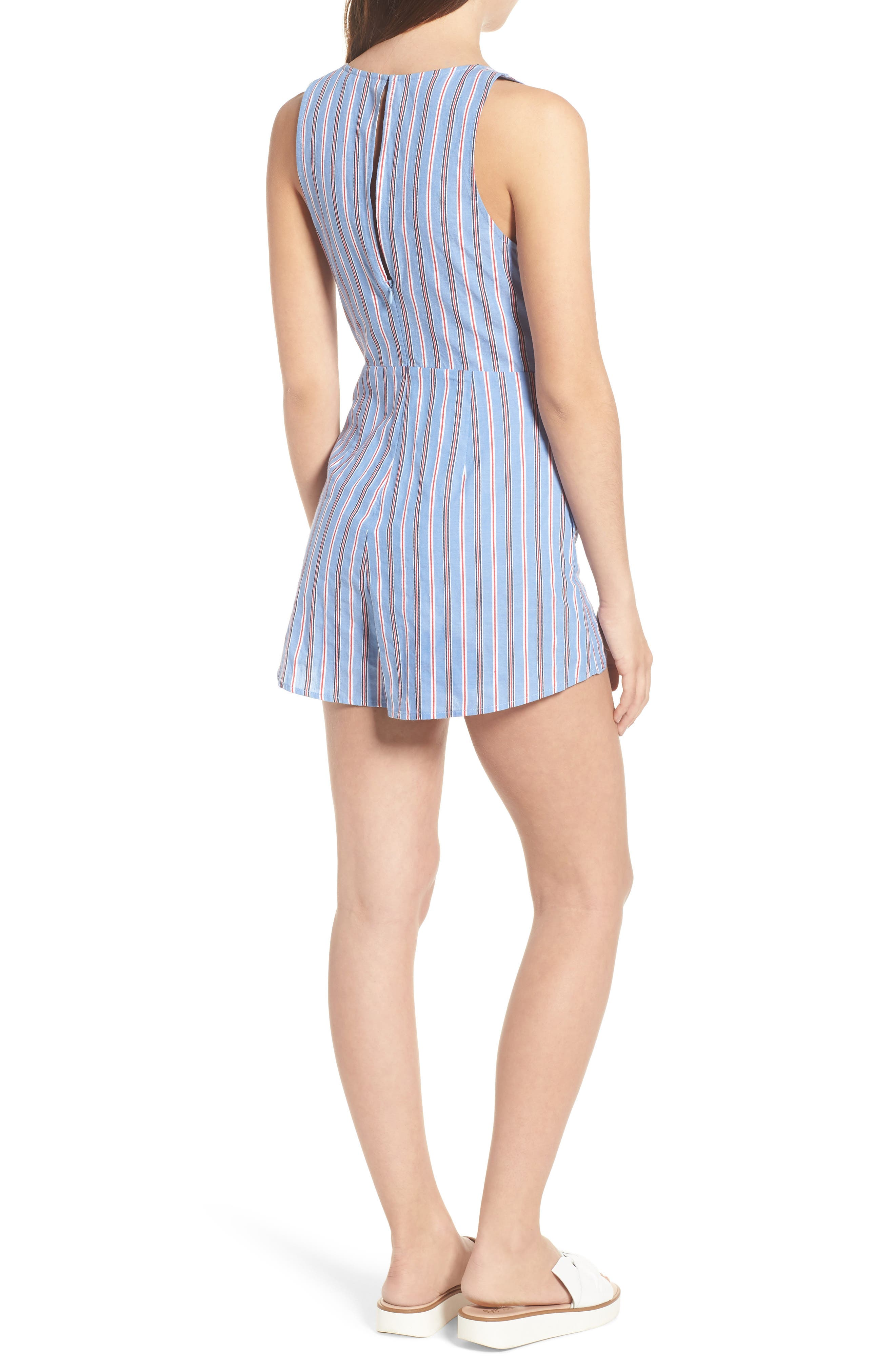 Knot Front Romper,                             Alternate thumbnail 2, color,                             Red/ Blue Stripe