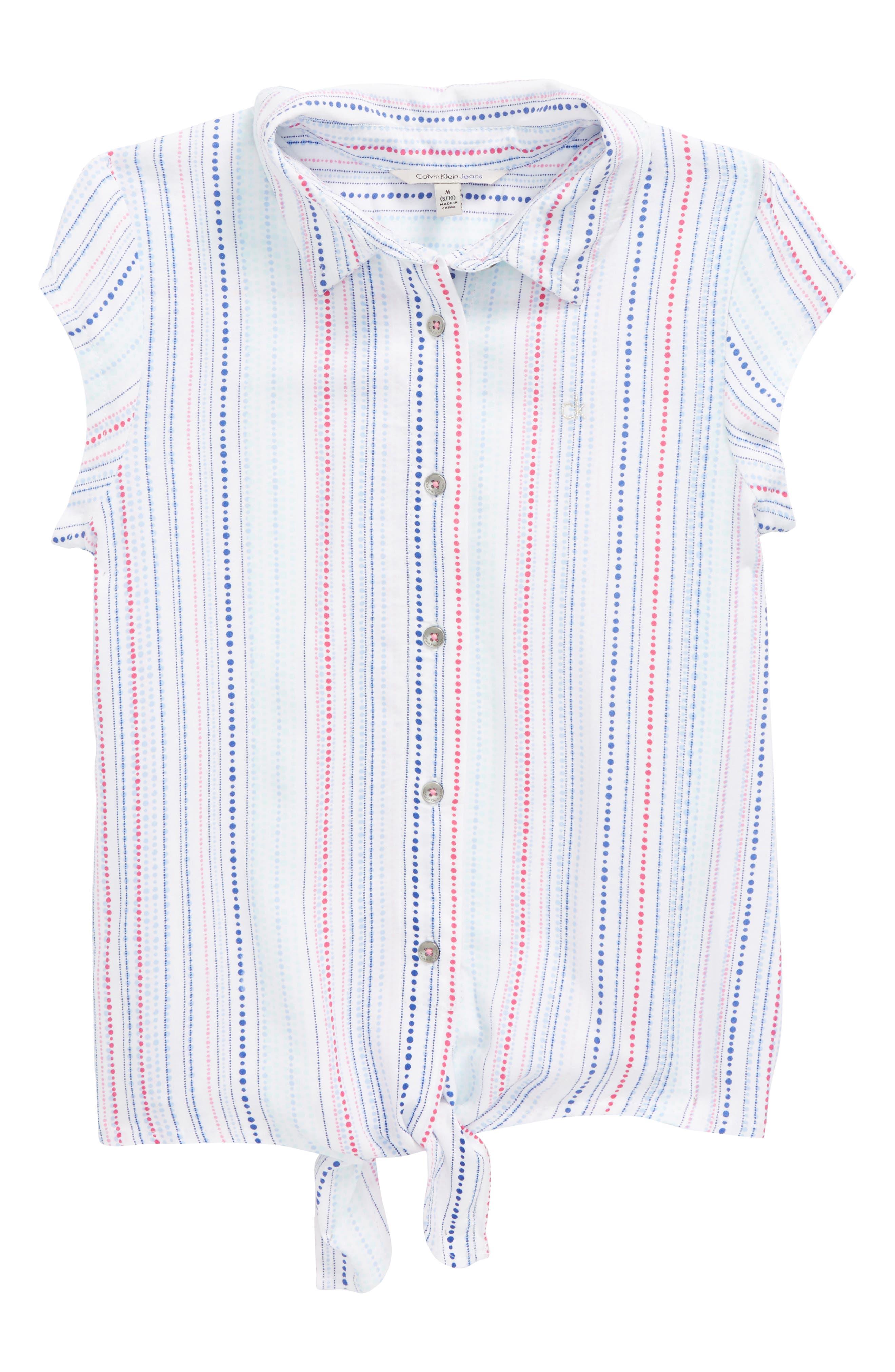 Calvin Klein Dot Front Tie Top (Big Girls)