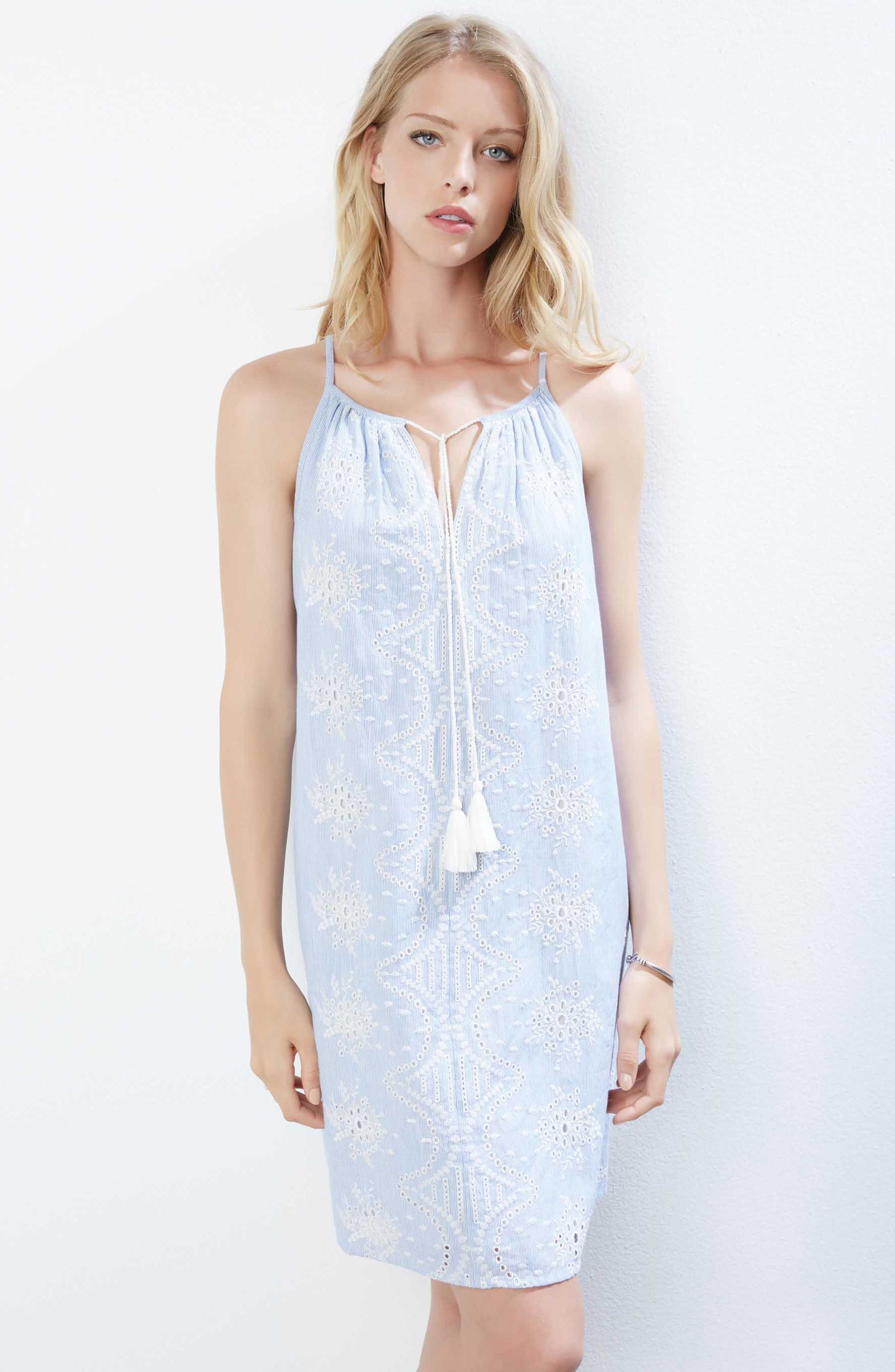 Embroidered Eyelet Shift Dress,                             Alternate thumbnail 3, color,                             Striped