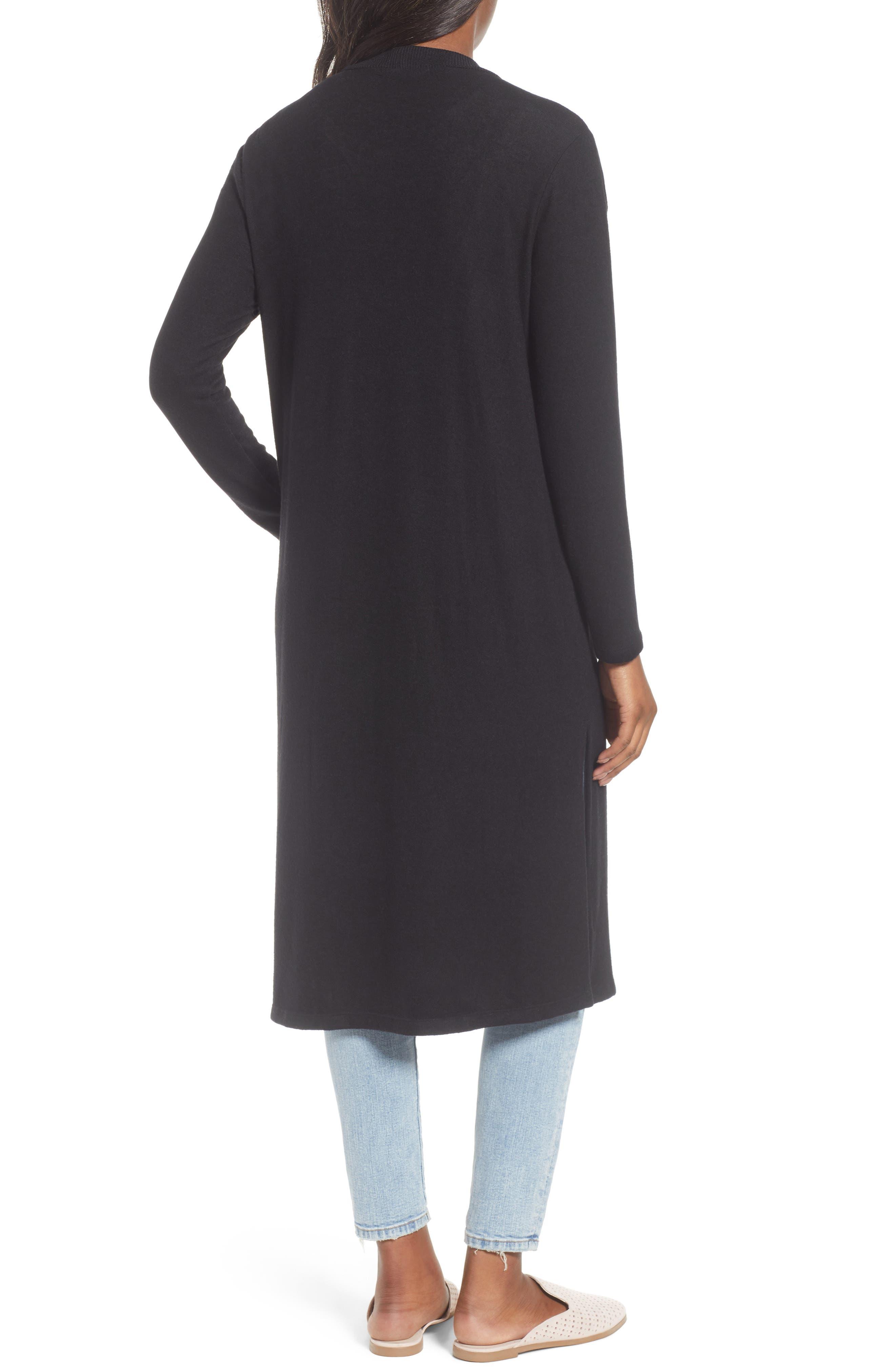 Long Fleece Open Cardigan,                             Alternate thumbnail 2, color,                             Black