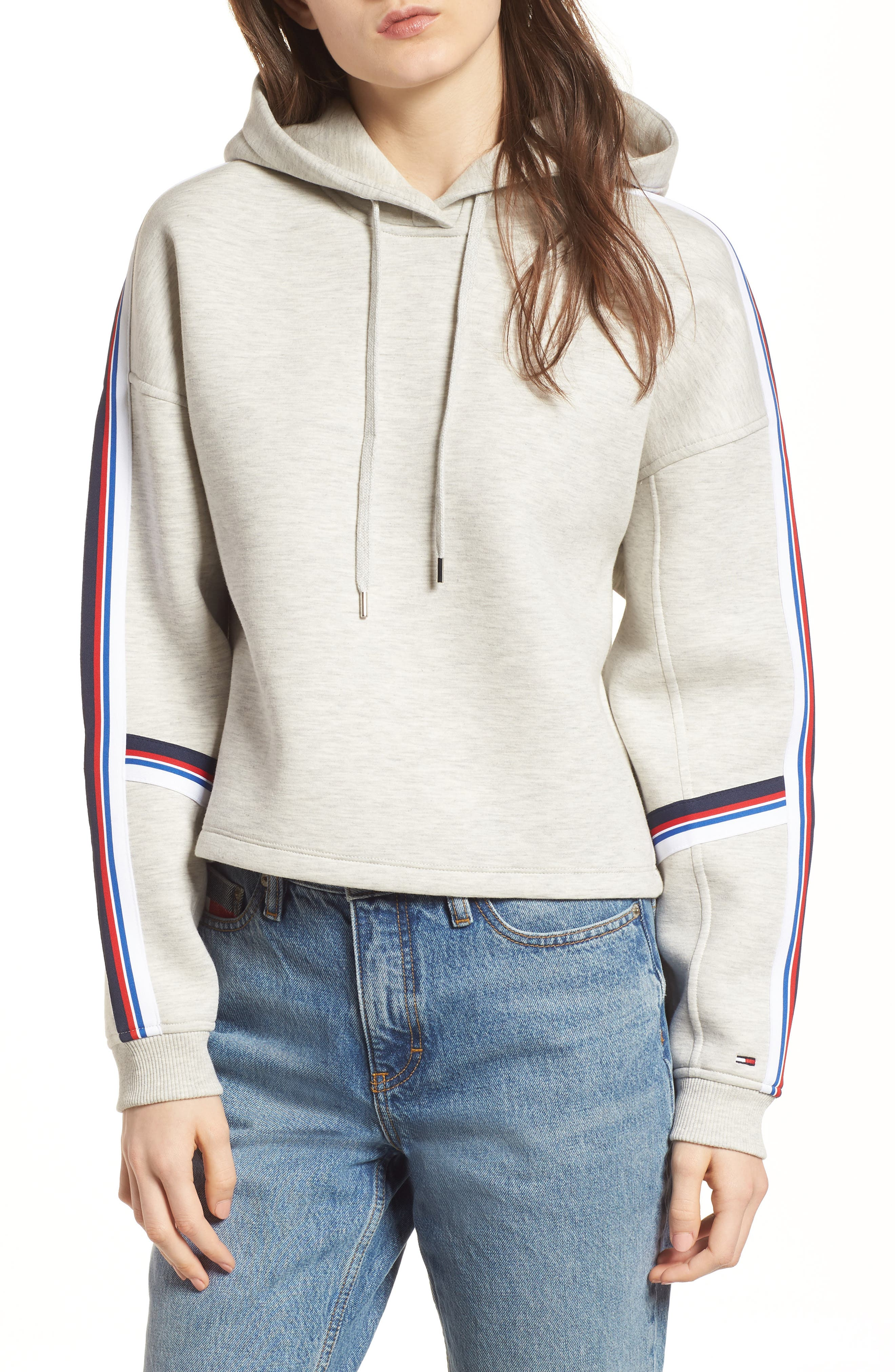 Stripe Detail Hoodie,                         Main,                         color, Light Grey Heather
