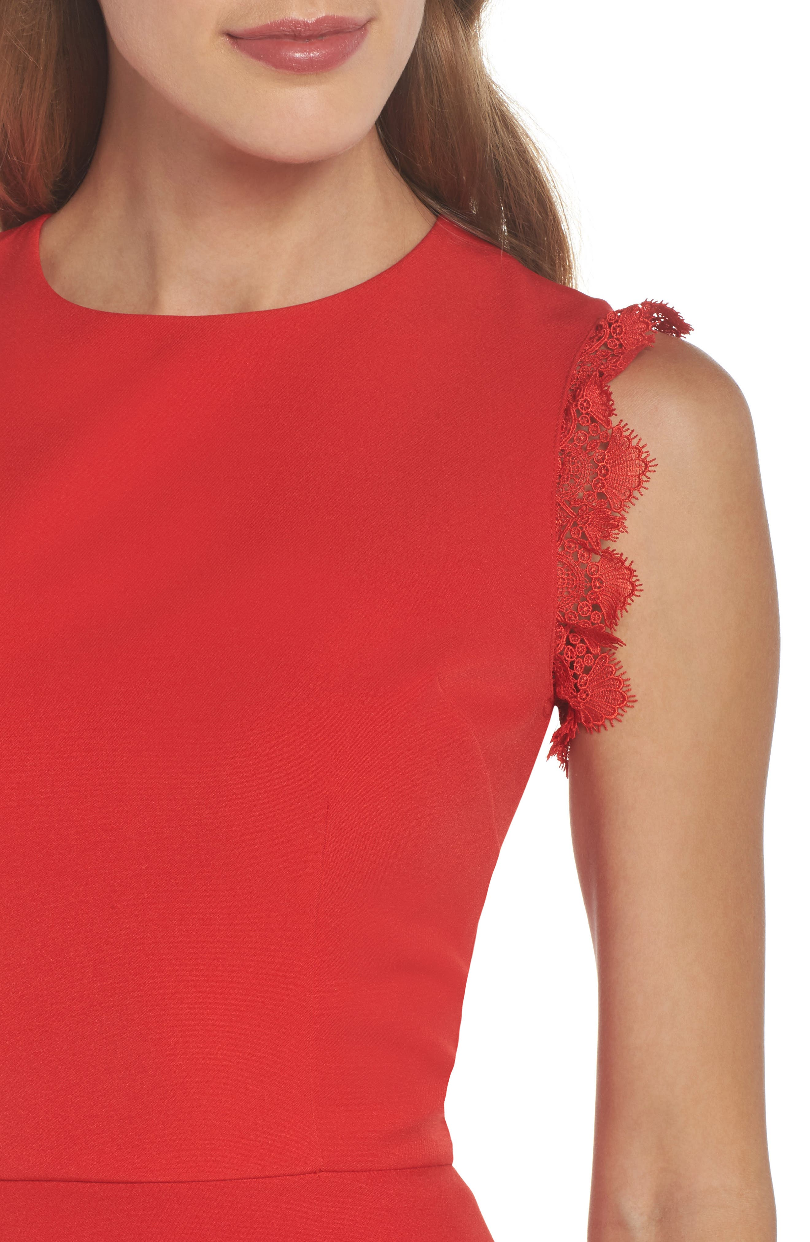 Antonia Fit & Flare Dress,                             Alternate thumbnail 4, color,                             Red