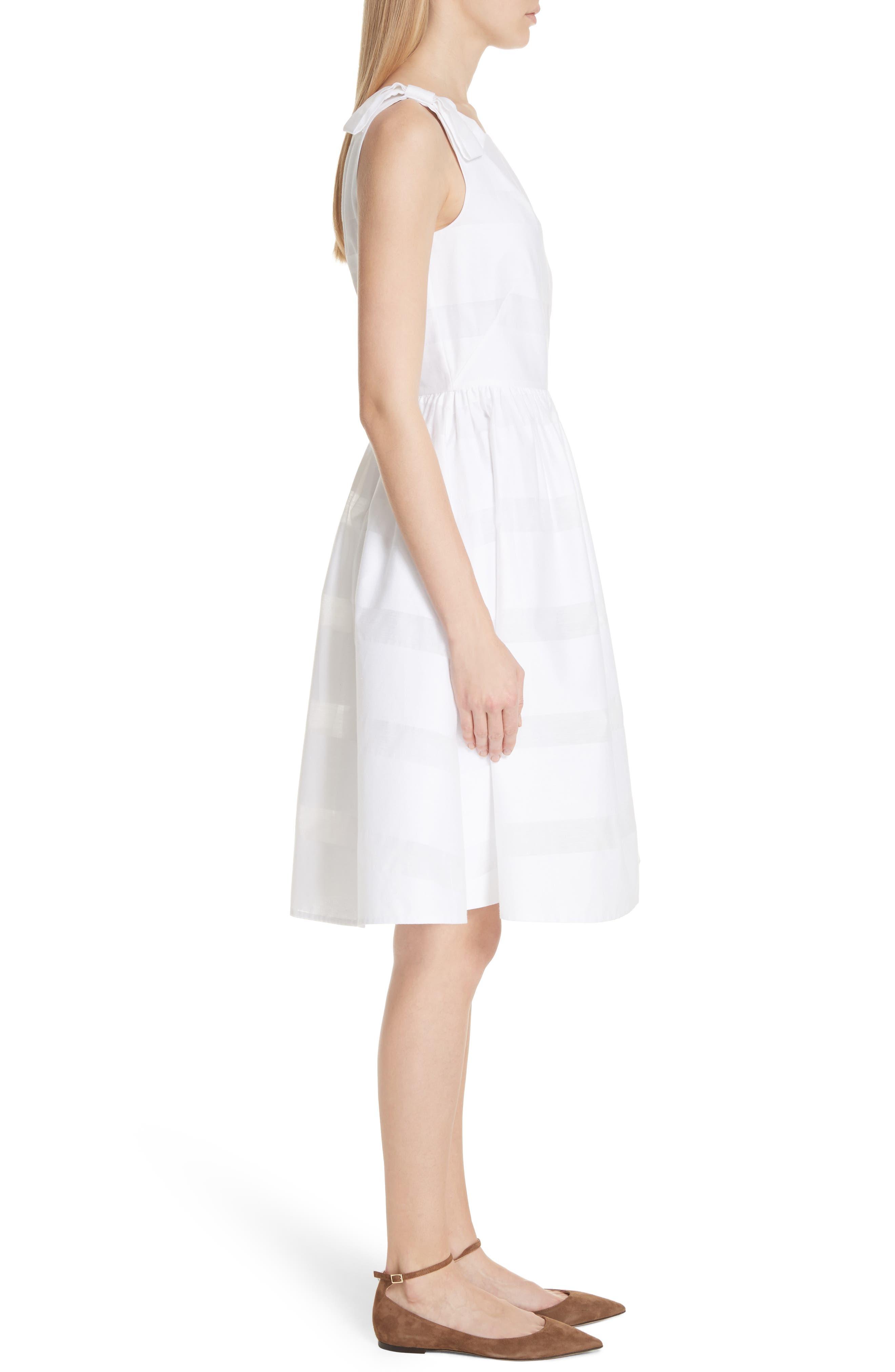 tonal stripe fit & flare dress,                             Alternate thumbnail 3, color,                             Fresh White